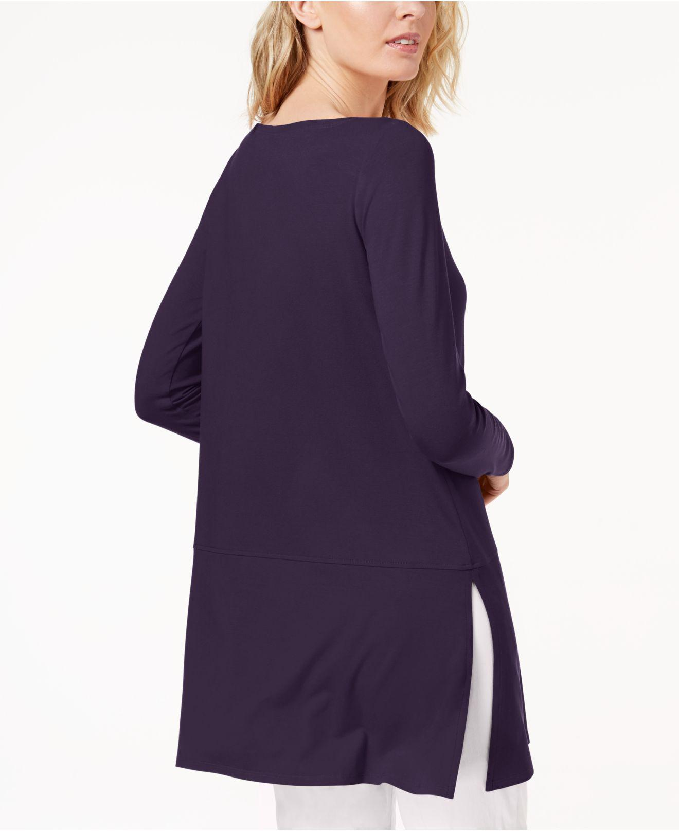 175b432ccfb Lyst - Eileen Fisher Stretch Jersey Boat-neck Top, Created For Macy's in  Purple