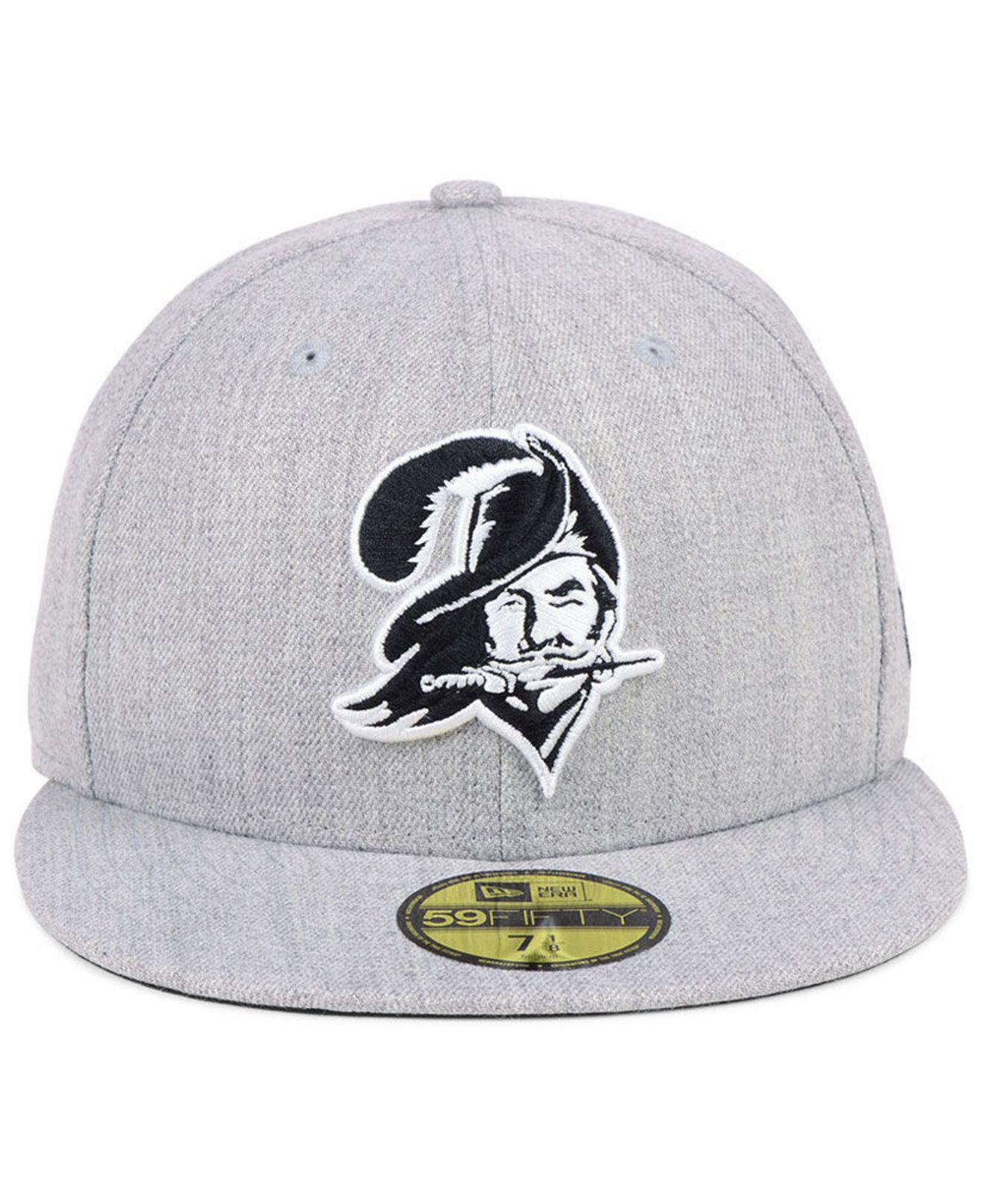 cheaper 11524 9f0b3 ... order lyst ktz tampa bay buccaneers heather black white 59fifty fitted  cap in white for men