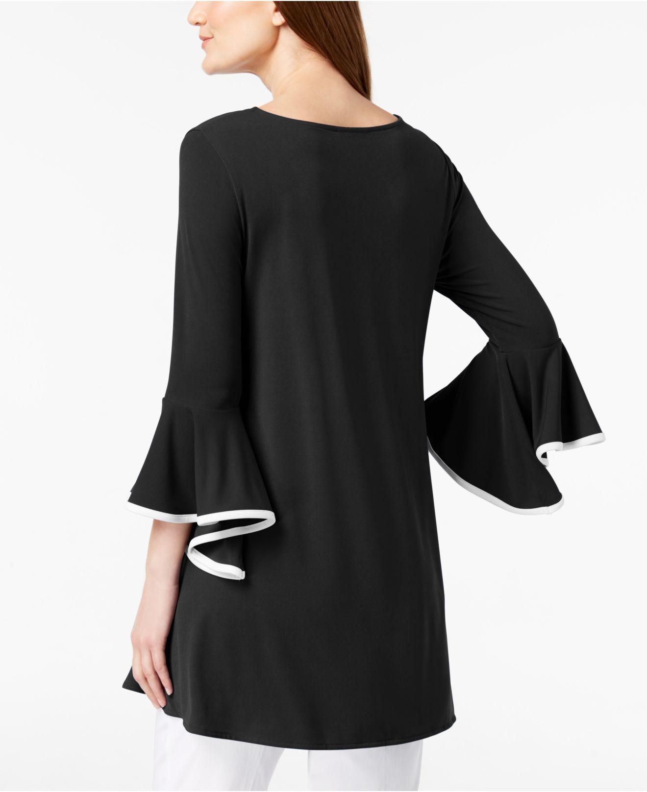 e3b803aabf6189 Lyst - Alfani Bell-sleeve Handkerchief-hem Top