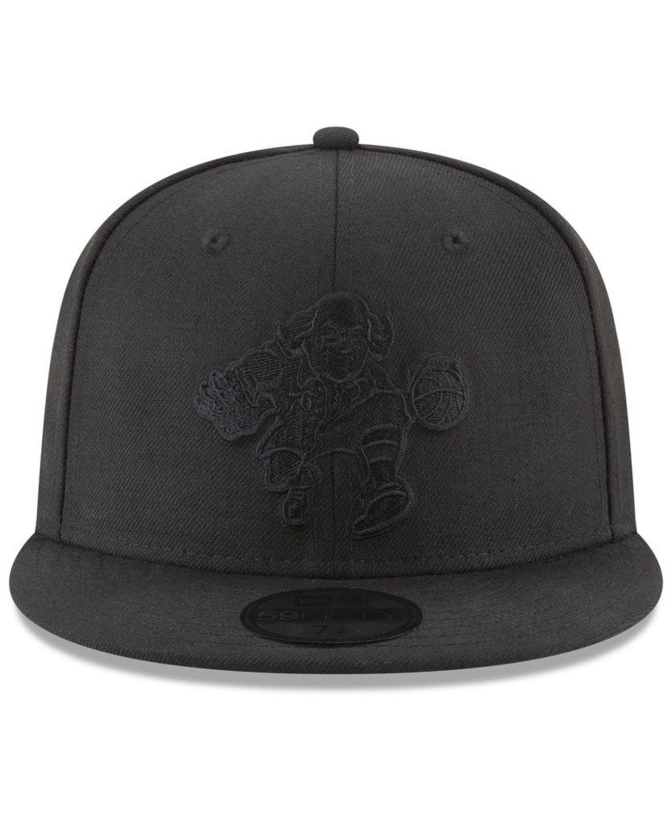 low cost cb72d 188c6 Lyst - KTZ Philadelphia 76ers Blackout 59fifty Fitted Cap in Black for Men