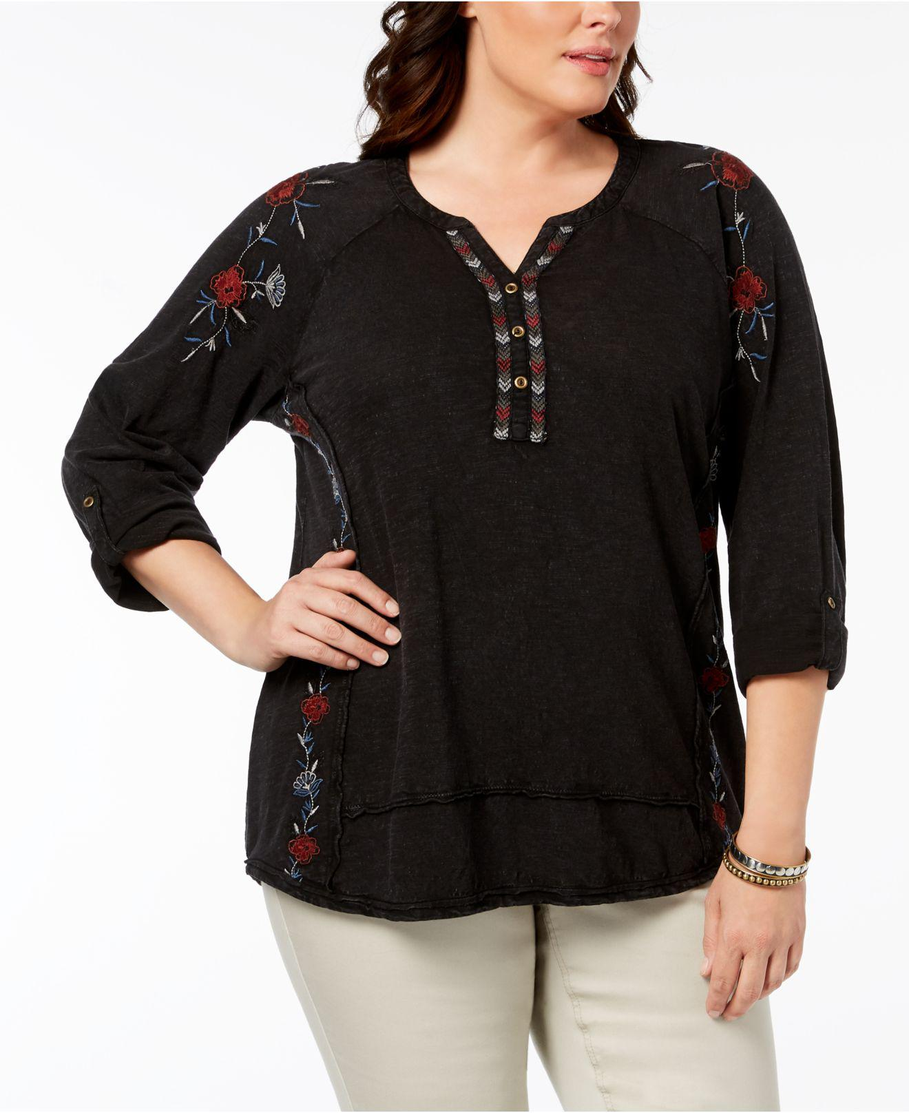 91e4777d099a3 Style   Co. Women s Black Plus Size Cotton Embroidered Distressed Peasant  Top