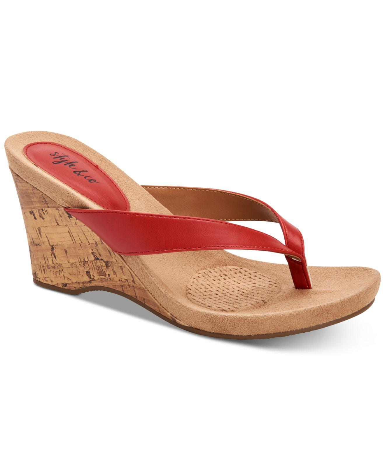 af4e78d020c7e Style   Co. Women s Red Chicklet Wedge Thong Sandals ...
