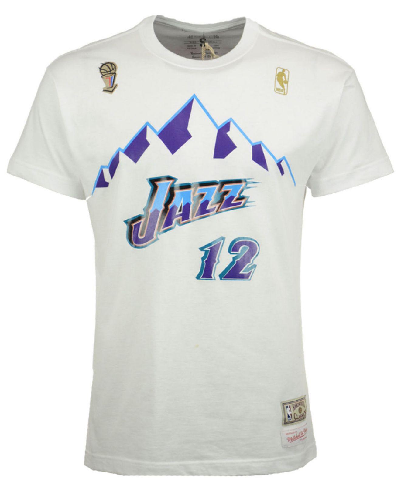 89f33283d Mitchell   Ness John Stockton Utah Jazz Hardwood Classic Player T-shirt in  White for Men - Lyst
