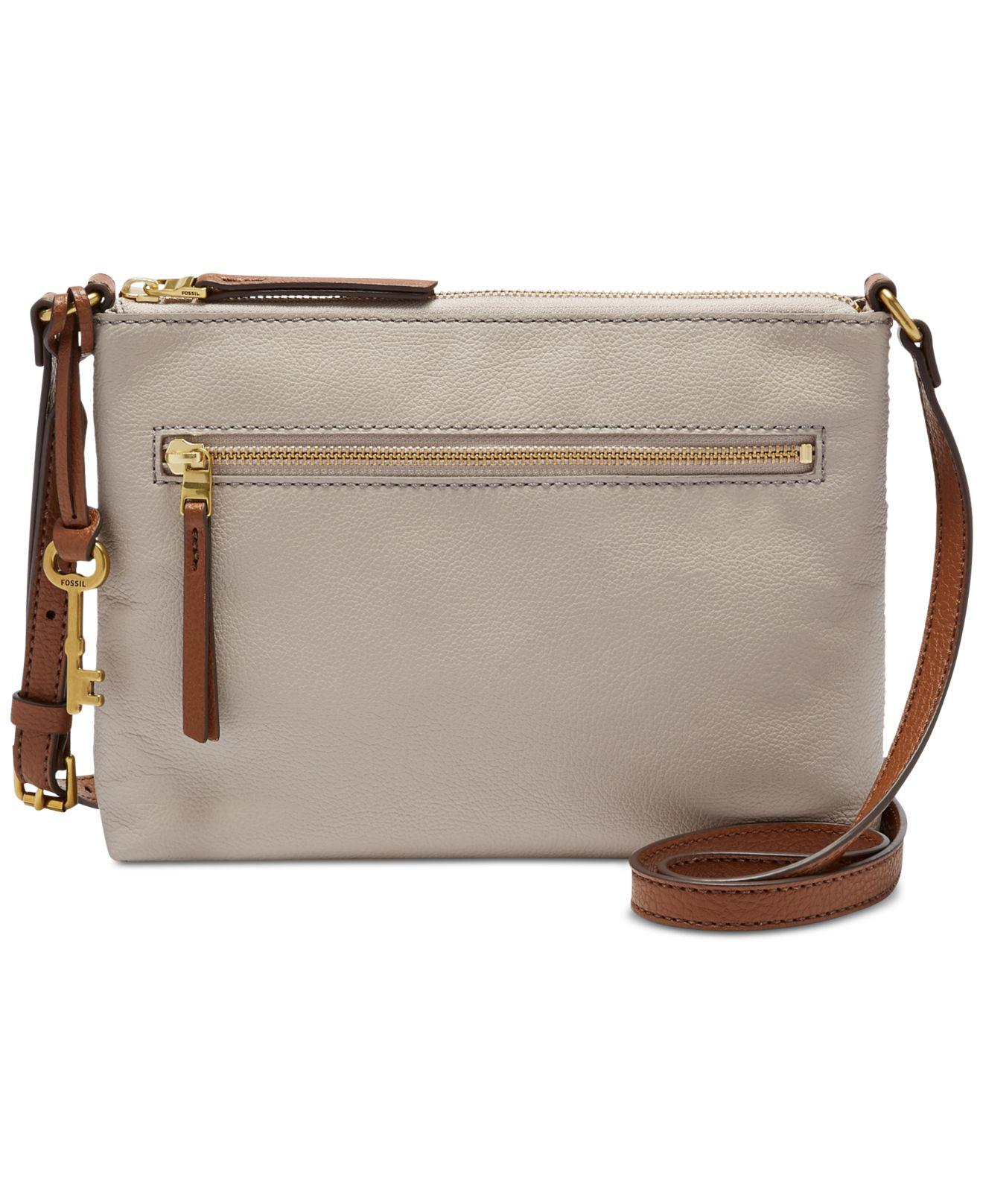 91651428b4 Lyst - Fossil Fiona Small Leather Crossbody in Gray