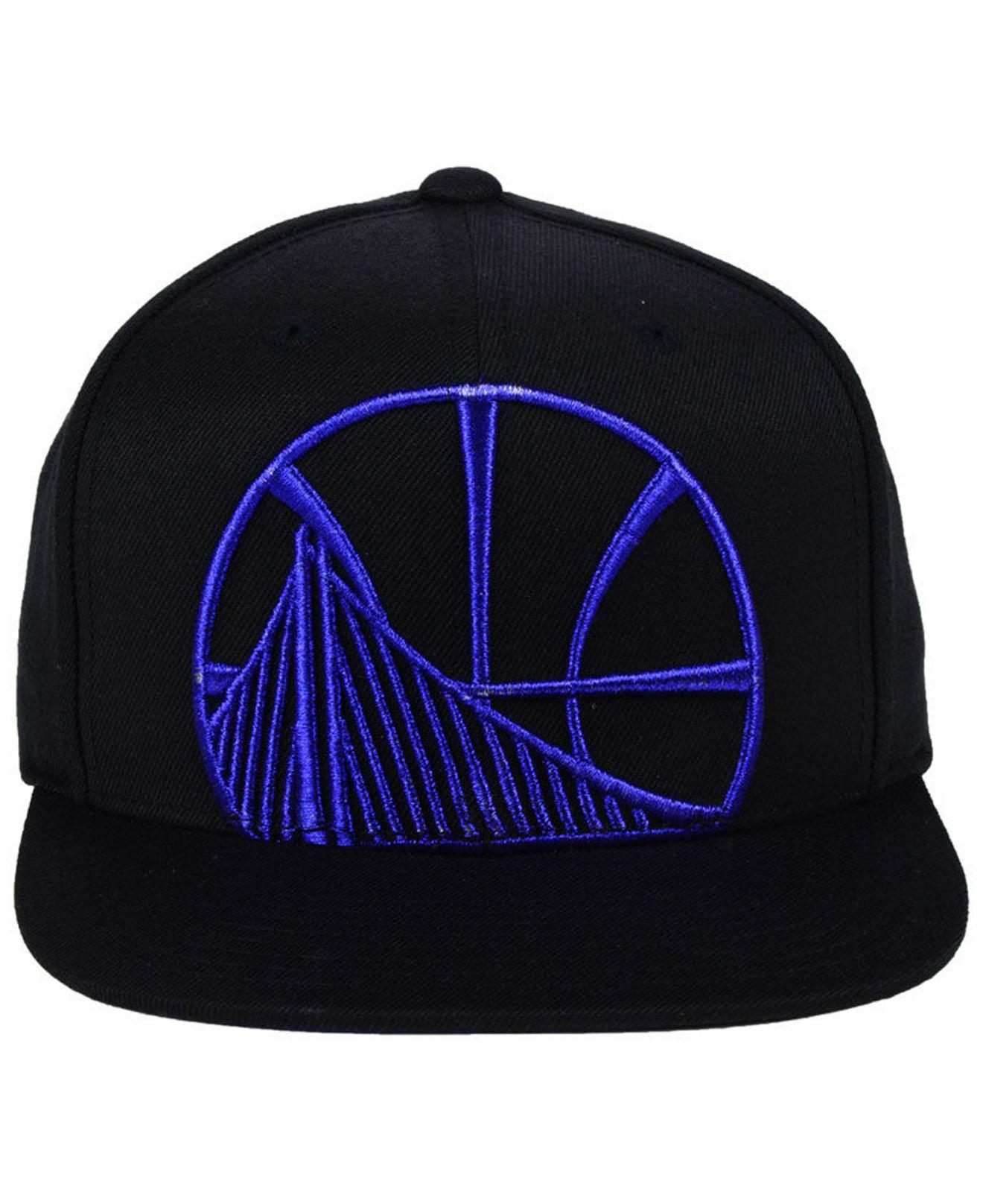 dcdf38e5147 ... greece lyst mitchell ness golden state warriors metallic cropped snapback  cap in black for men 9856b