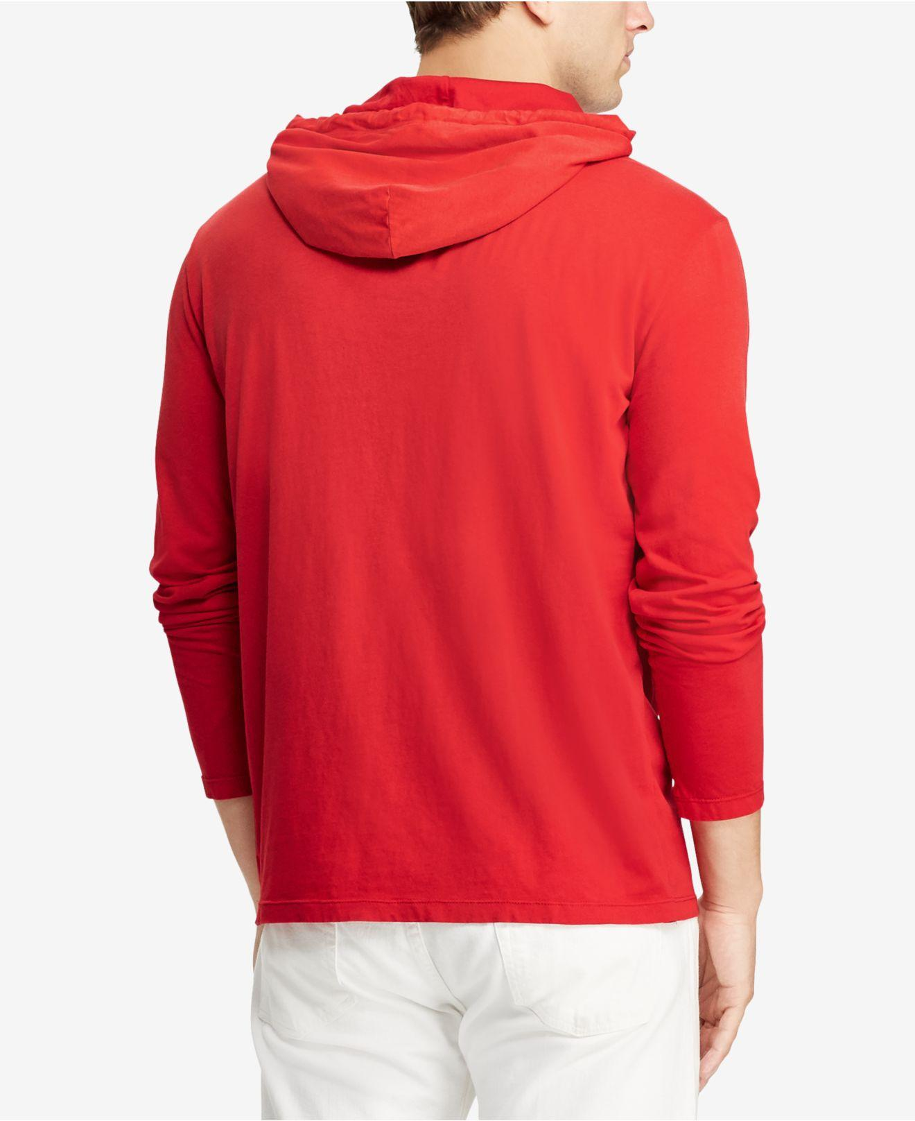 301f752b0 Lyst - Polo Ralph Lauren Long-sleeve Hooded T-shirt in Red for Men - Save  25%