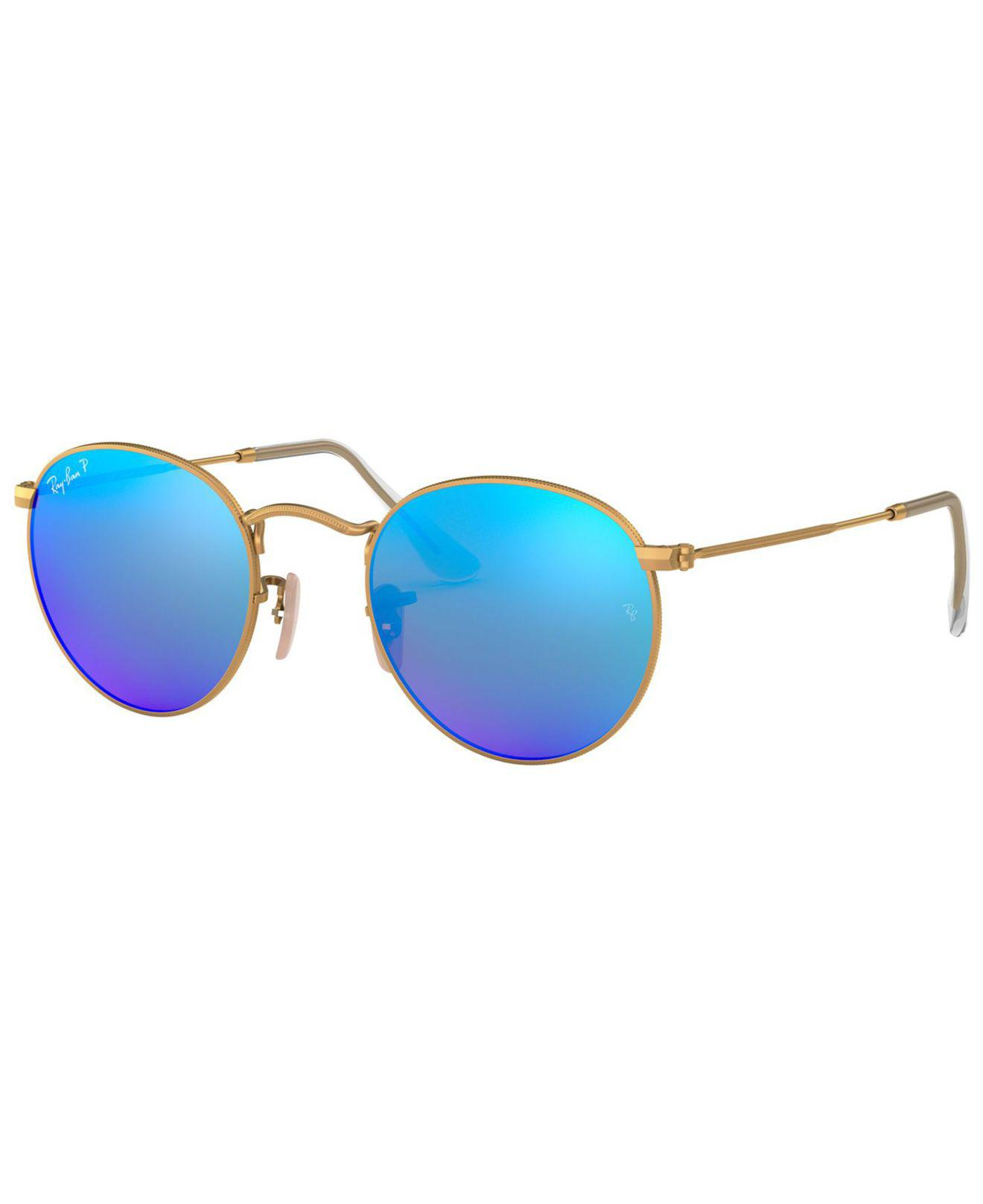 f9ee453141 Ray-Ban. Women s Blue Polarized Round Metal Sunglasses ...