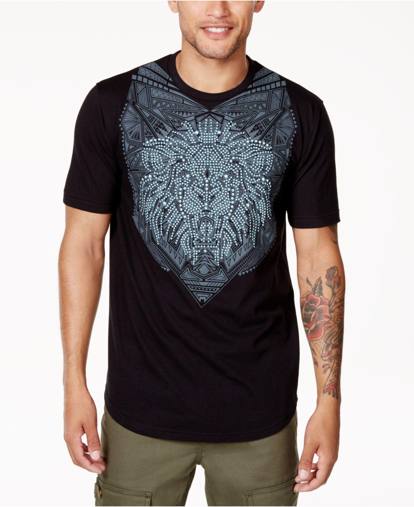a3c5e5376 Sean John Men's Valiant Lion Rhinestone Graphic-print T-shirt in ...
