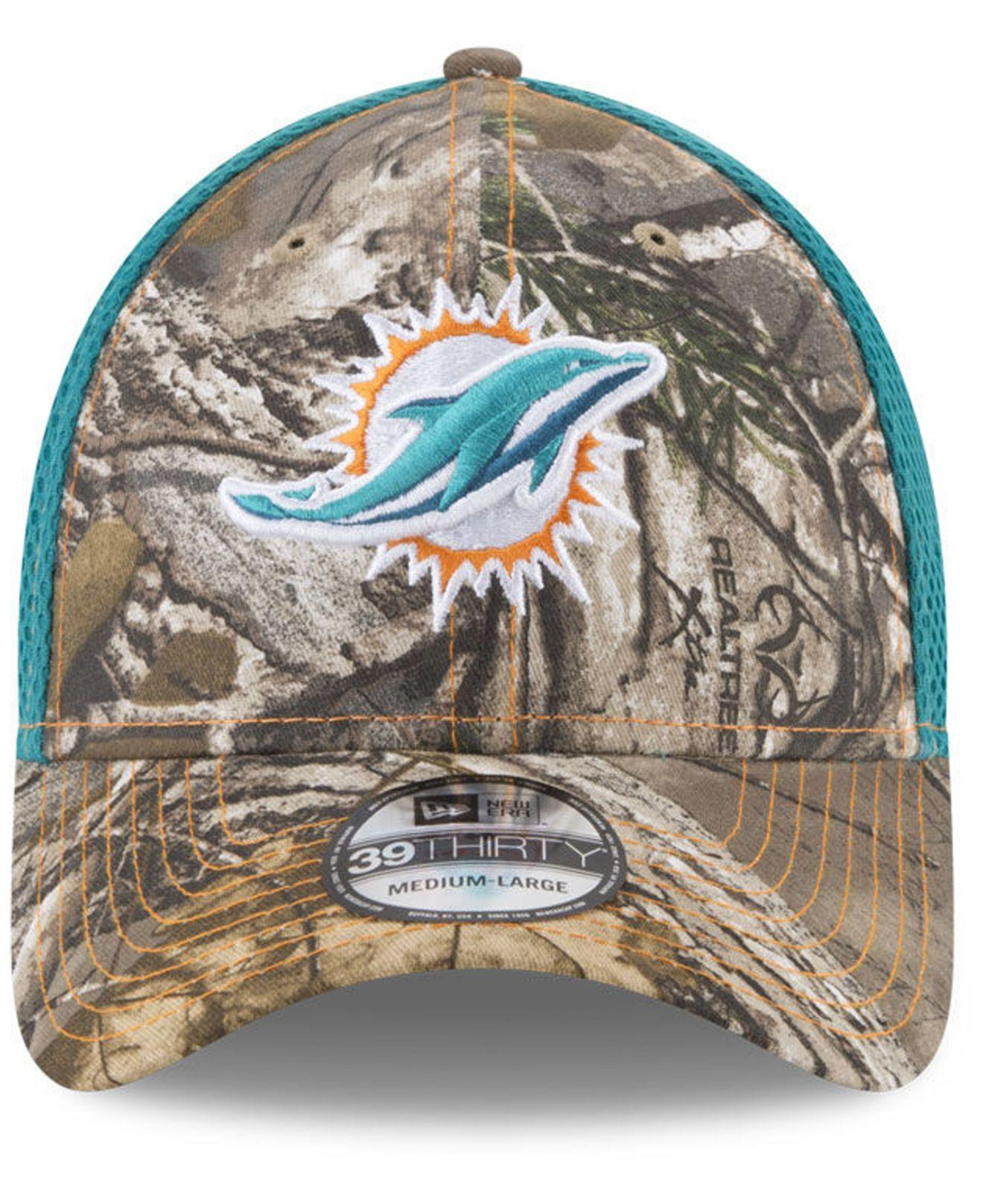 f3a19c2bc05 Lyst - Ktz Miami Dolphins Realtree Camo Team Color Neo 39thirty Cap for Men