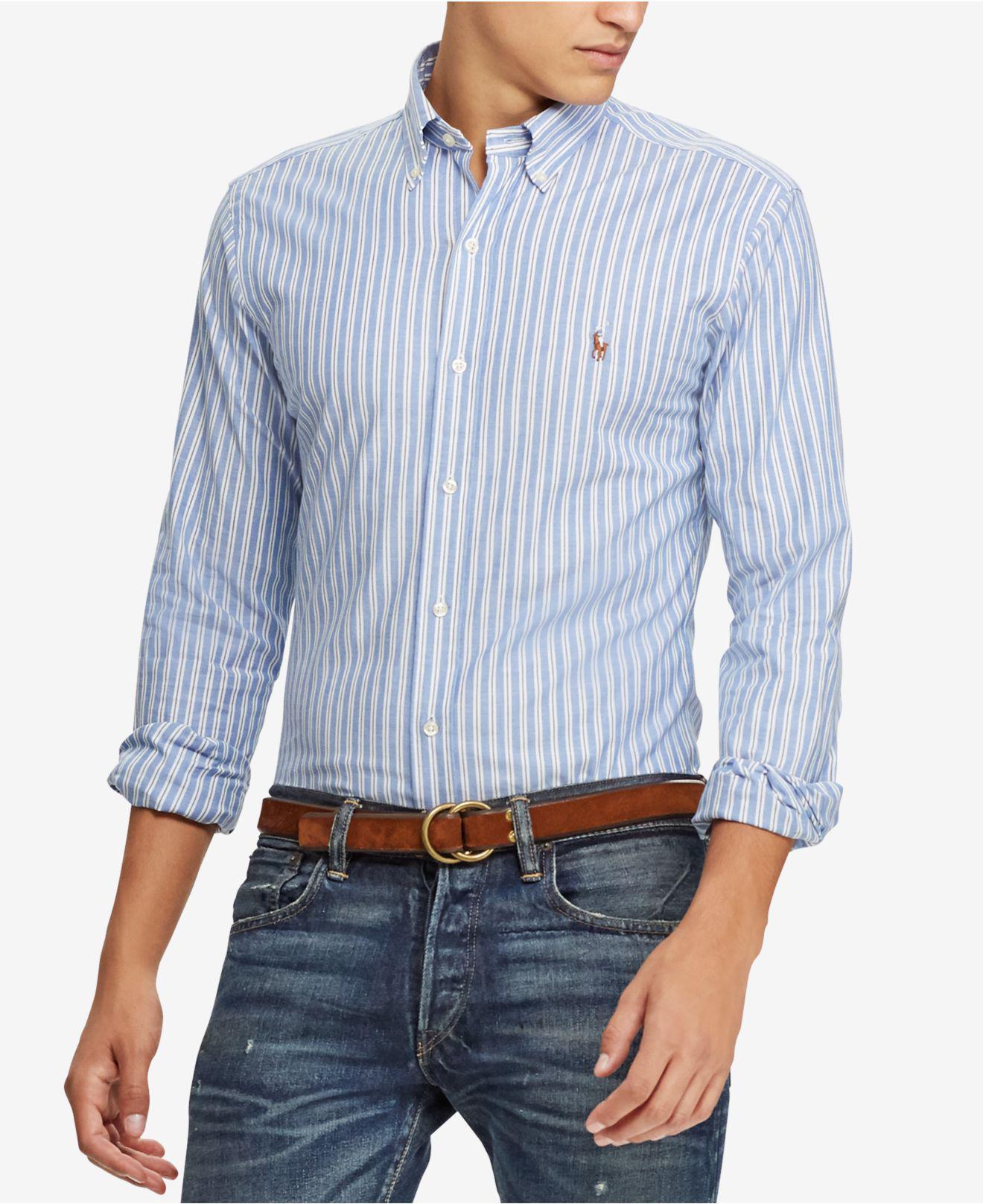 1c0598180eb Lyst - Polo Ralph Lauren Slim-fit Stripe Oxford Stretch Long-sleeve ...