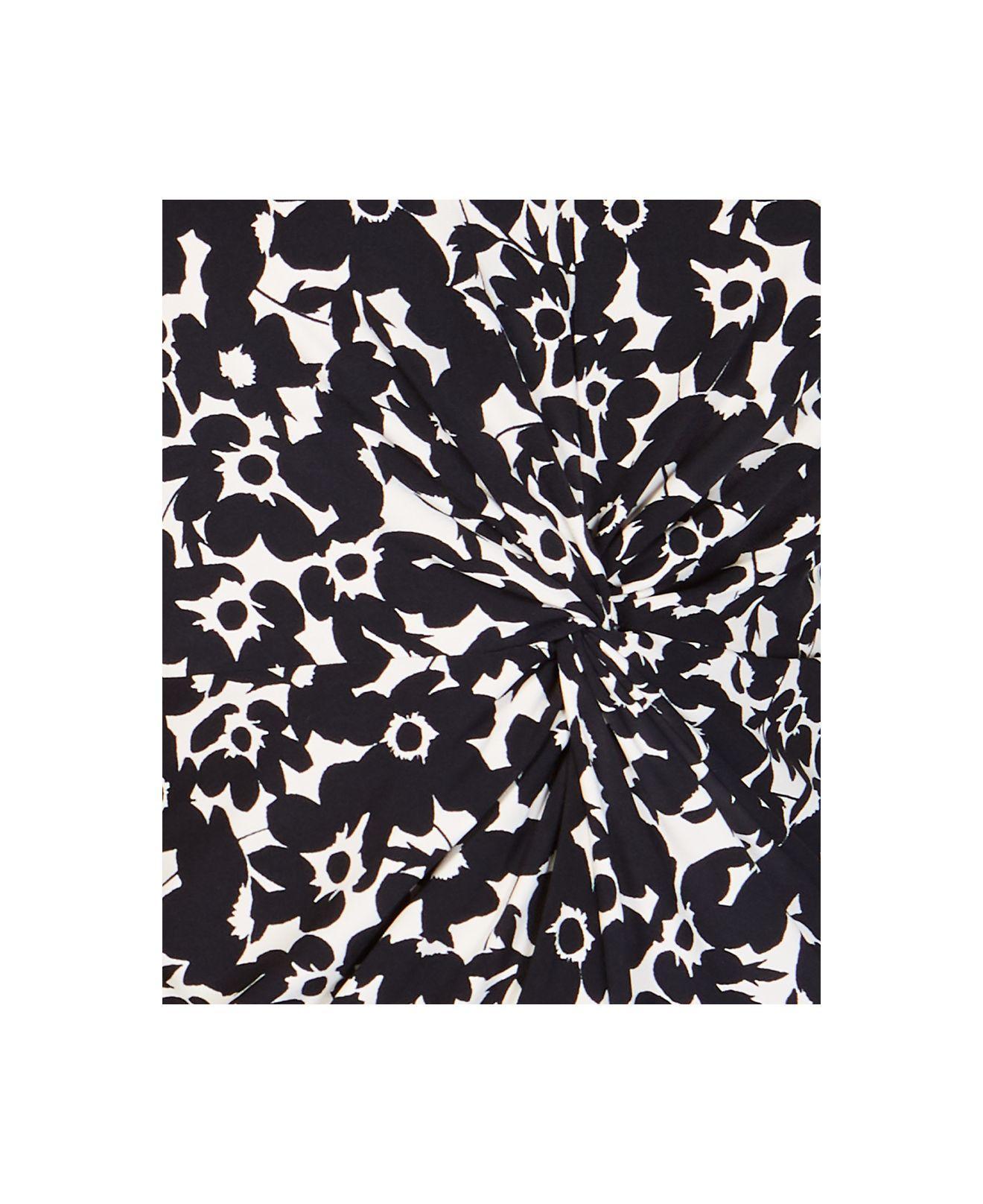 f1737d4fe8e0b7 Alfani - Black Printed Twist-front Top