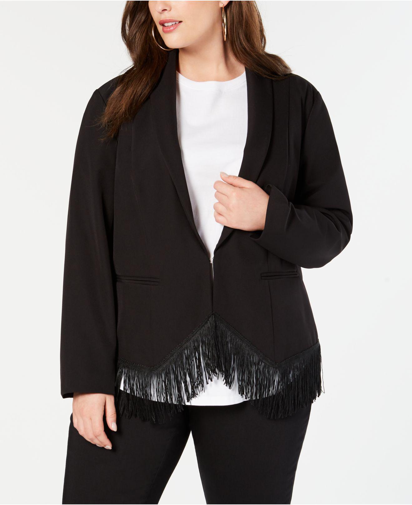 3b25e8a2c0fd5 INC International Concepts. Women s Black I.n.c. Plus Size Fringe-trim  Blazer ...