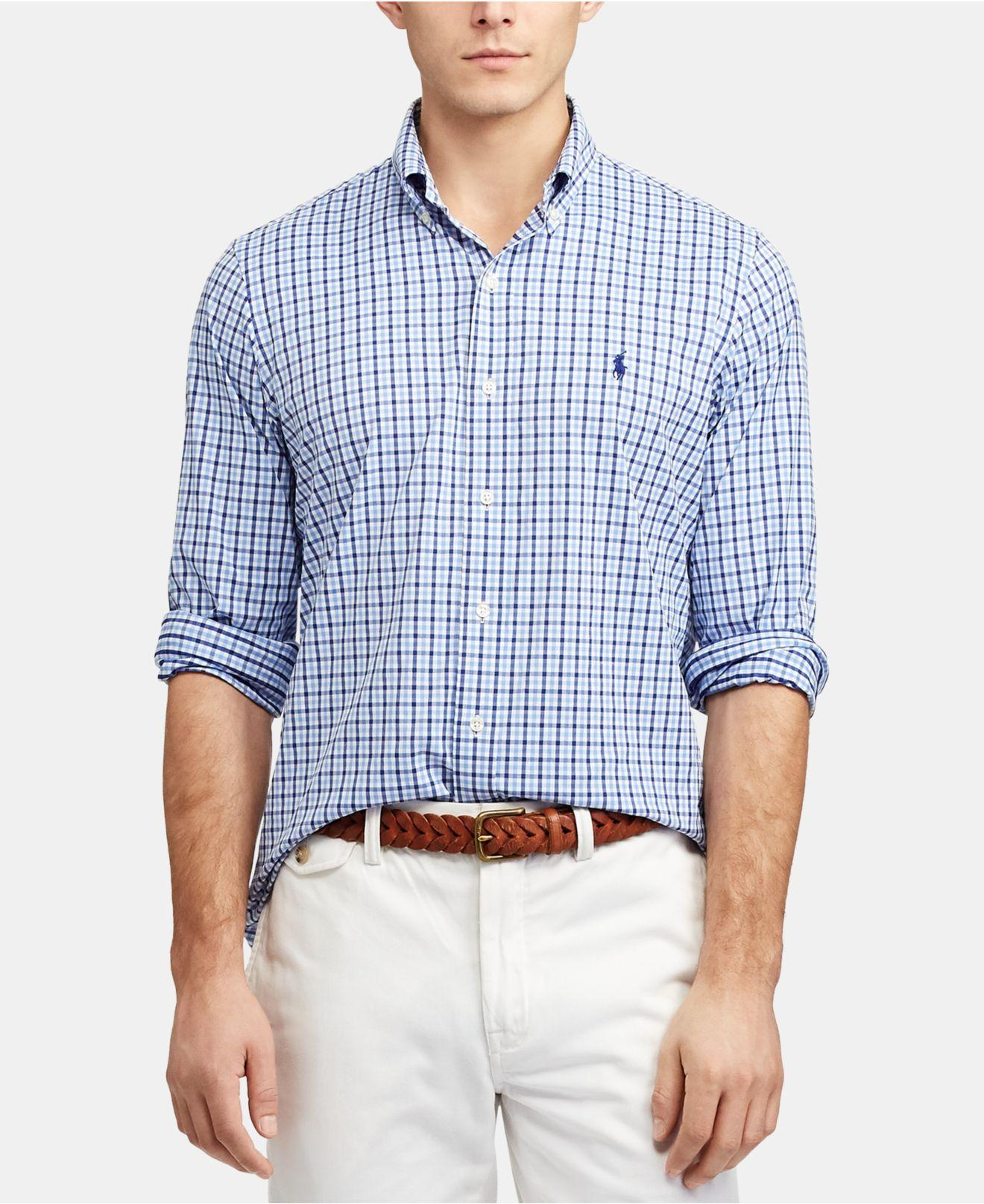 7367014af Lyst - Polo Ralph Lauren Big   Tall Gingham Performance Long-sleeve ...