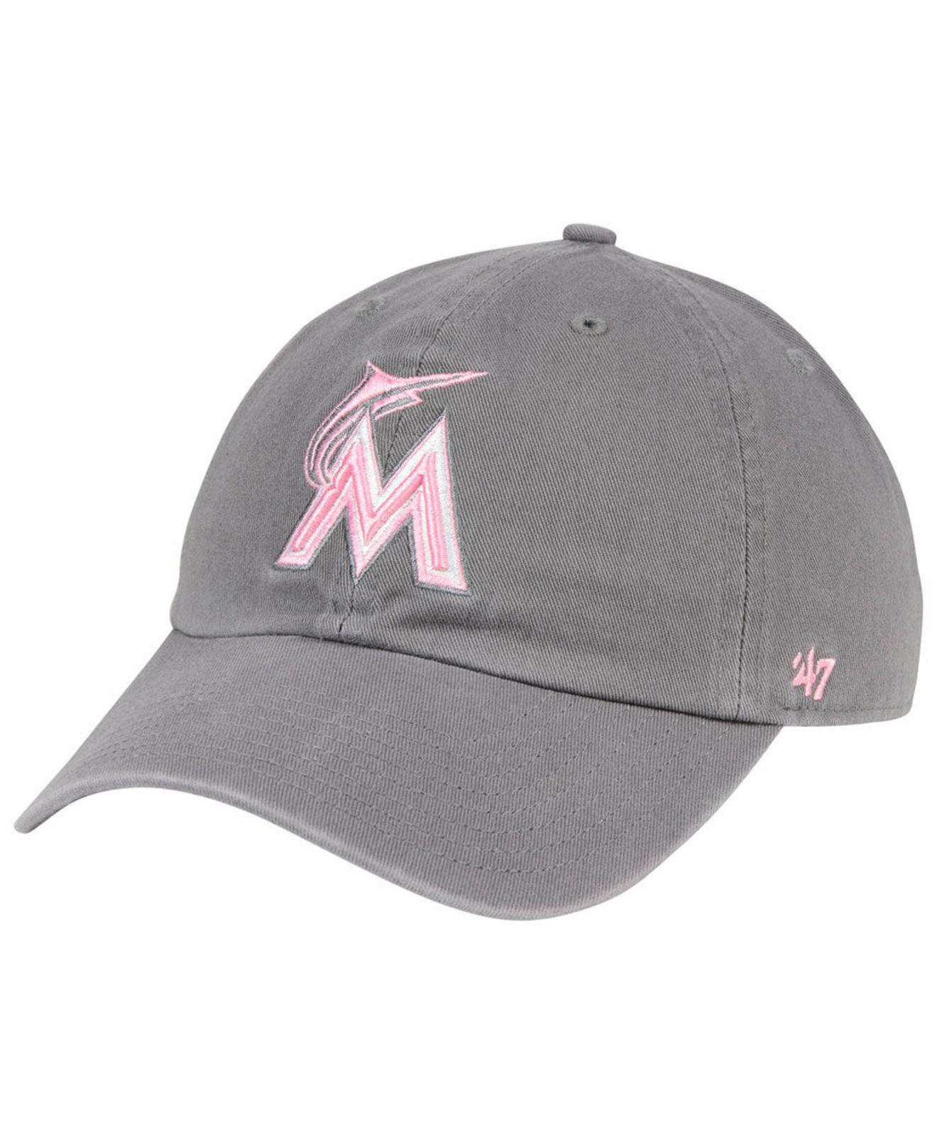 outlet store 7a24e 391df ... coupon for 47 brand. womens miami marlins dark gray pink clean up cap  e2113 19a53