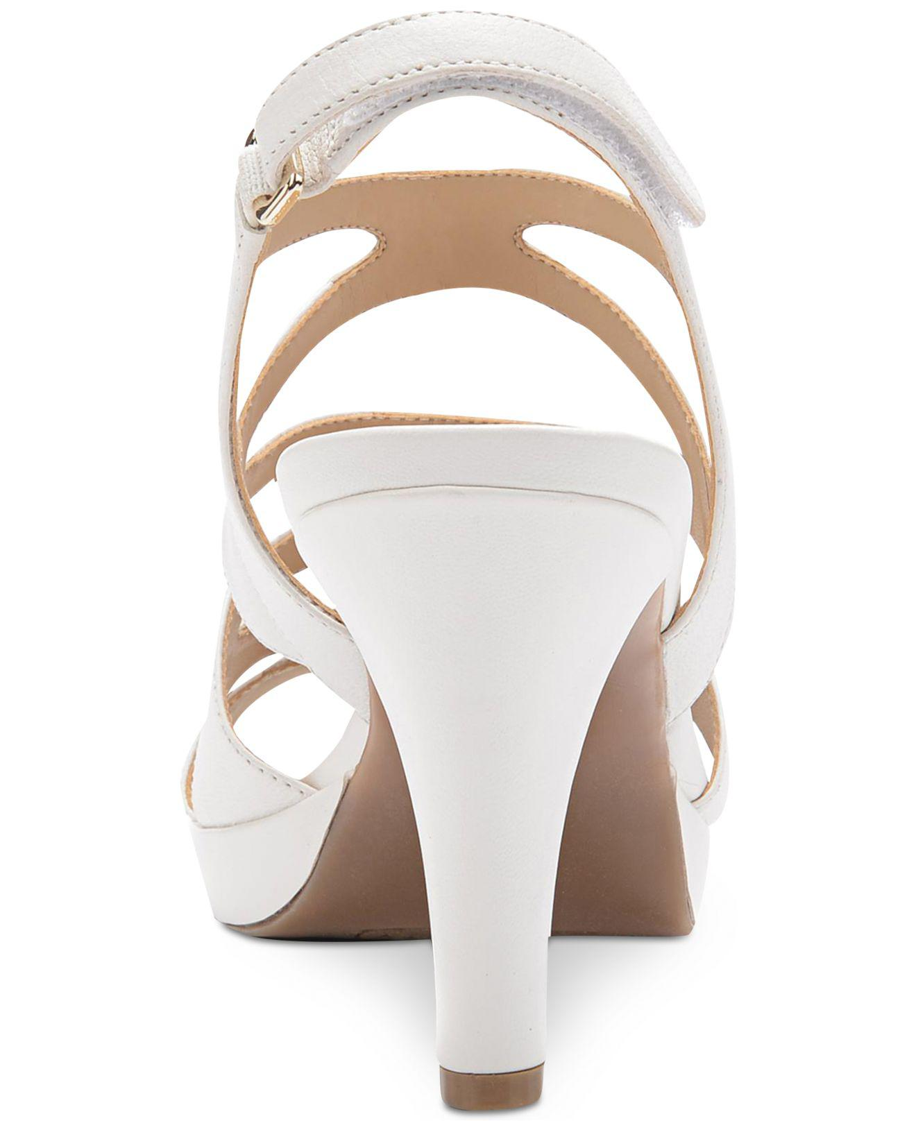 52b9a568f01 Naturalizer - White Pressely Platform Dress Sandal - Lyst. View fullscreen
