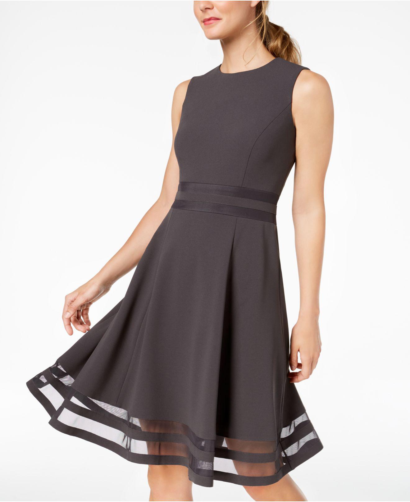 b11d30ce7bb Lyst - Calvin Klein Illusion-trim Fit   Flare Dress in Black