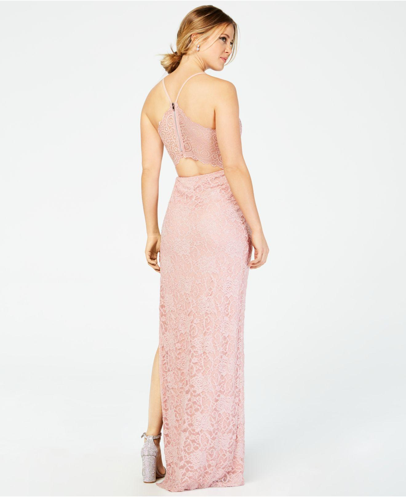 51907020 Emerald Sundae Juniors' Pink-lace Racerback Gown in Pink - Lyst