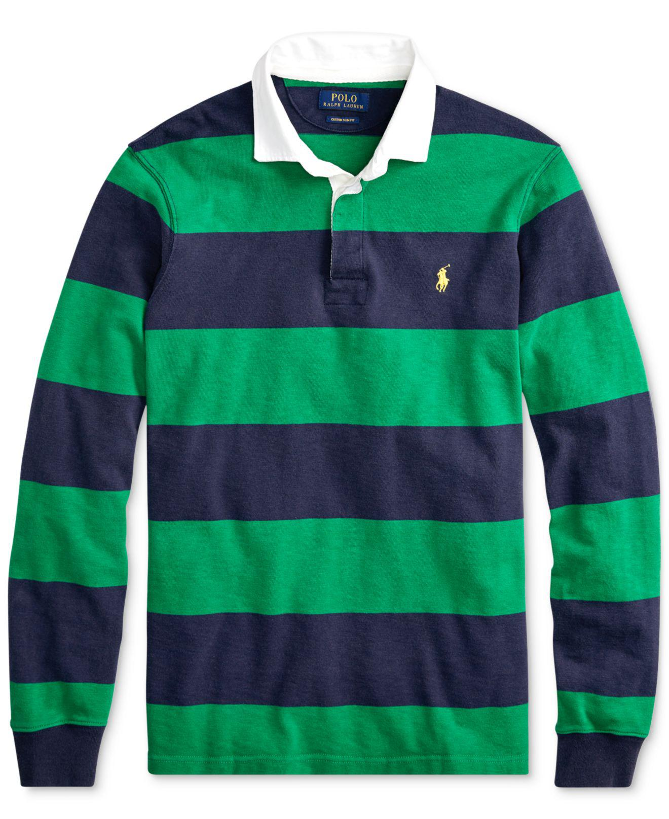 06e6f0532 ... new zealand lyst polo ralph lauren iconic striped rugby polo shirt in  green 69e82 b32f1