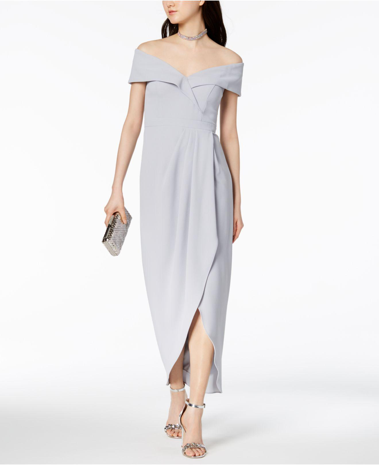 f99b364c Xscape Off-the-shoulder Tulip-hem Gown in Blue - Lyst