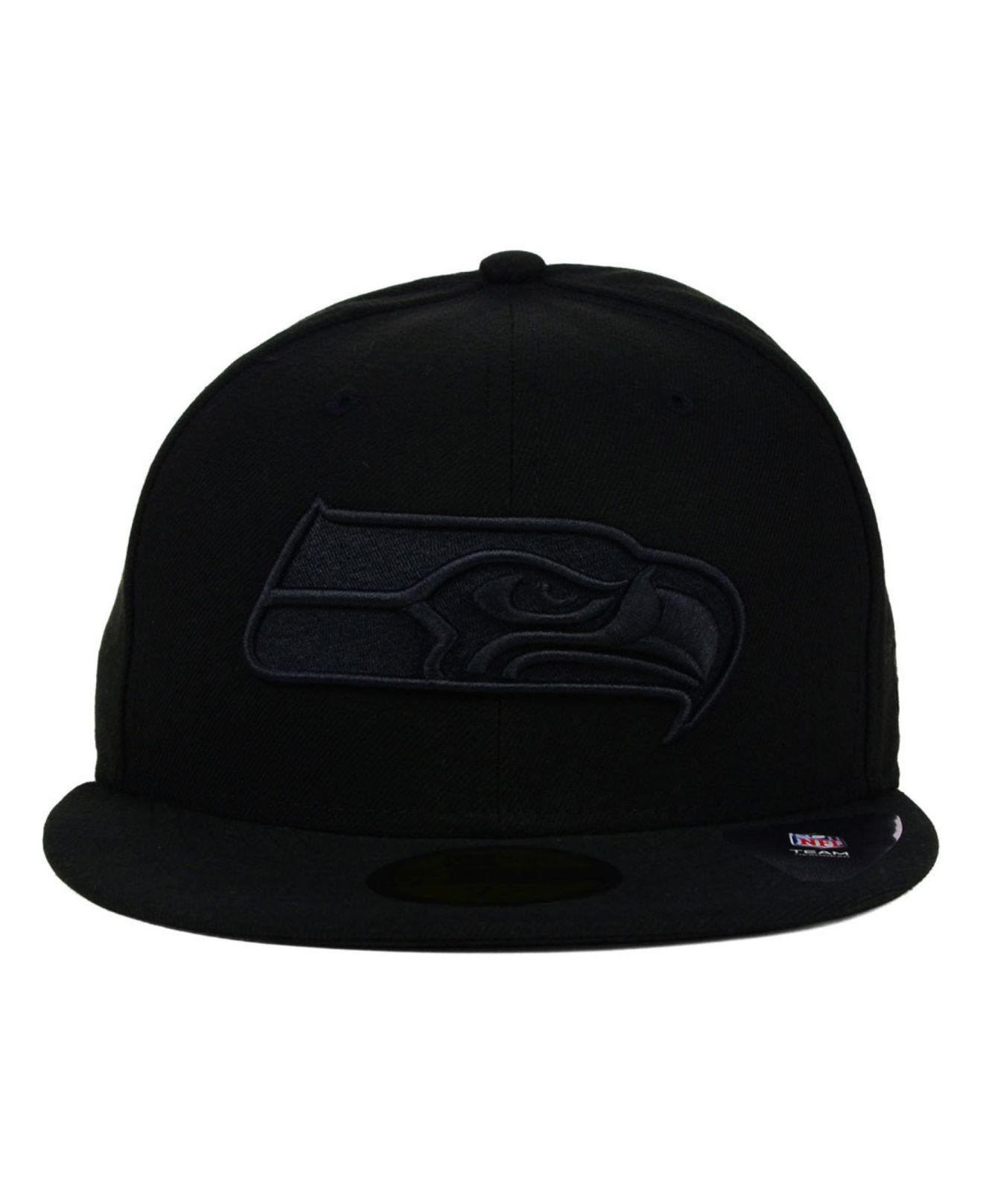 check out ec5b4 4ffba ... release date lyst ktz seattle seahawks black on black 59fifty cap in  black for men 1198d