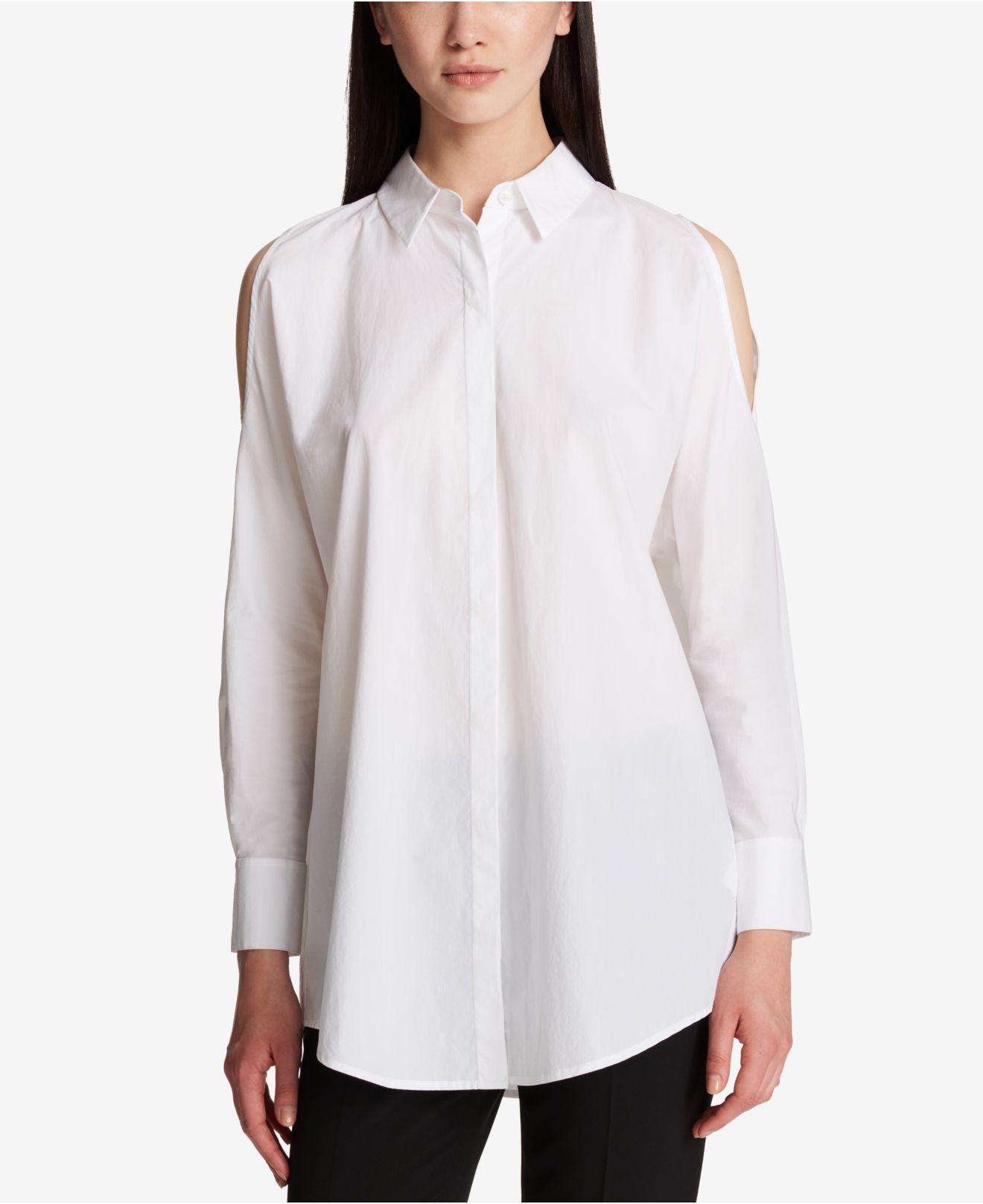 b8d076d77bea1b Lyst - DKNY Cotton Cold-shoulder Shirt in White