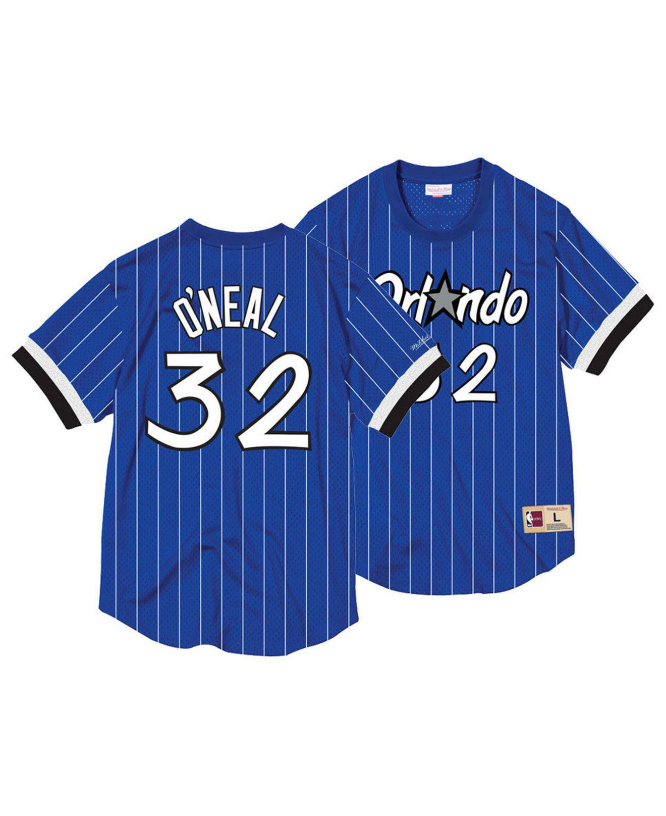 cf951cf2476e Mitchell   Ness. Men s Blue Shaquille O neal Orlando Magicname And Number Mesh  Crewneck Jersey