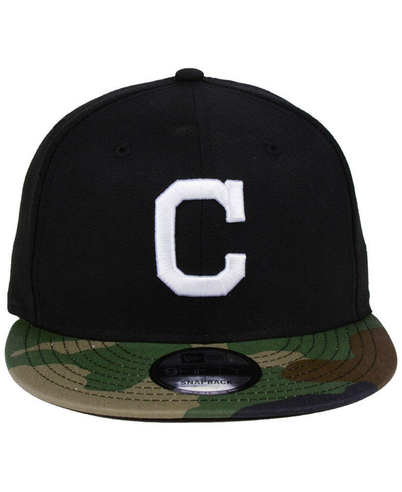 new concept 77fa5 c5349 Lyst - KTZ Cleveland Indians Woodland Black white 9fifty Snapback Cap in  Black for Men