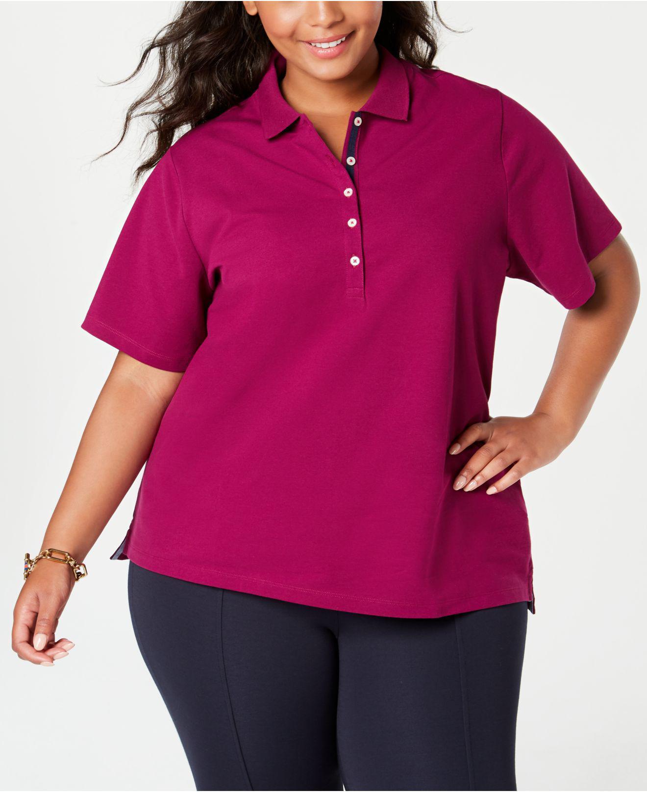 ef73961465f40 Tommy Hilfiger. Women s Plus Size Short-sleeve Polo Shirt ...