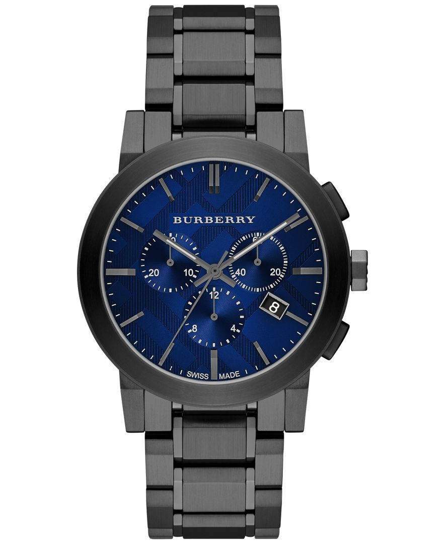 burberry s swiss chronograph gray ion plated stainless