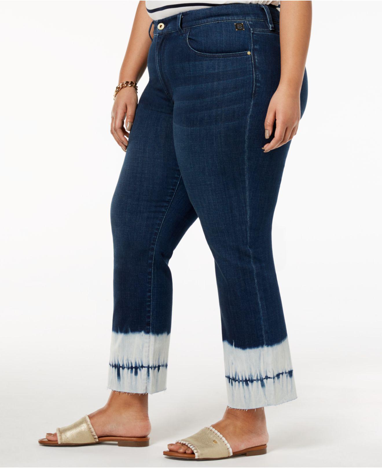 e2430d3d335f7 Lyst - Tommy Hilfiger Plus Size Tie-dyed-hem Ankle Jeans