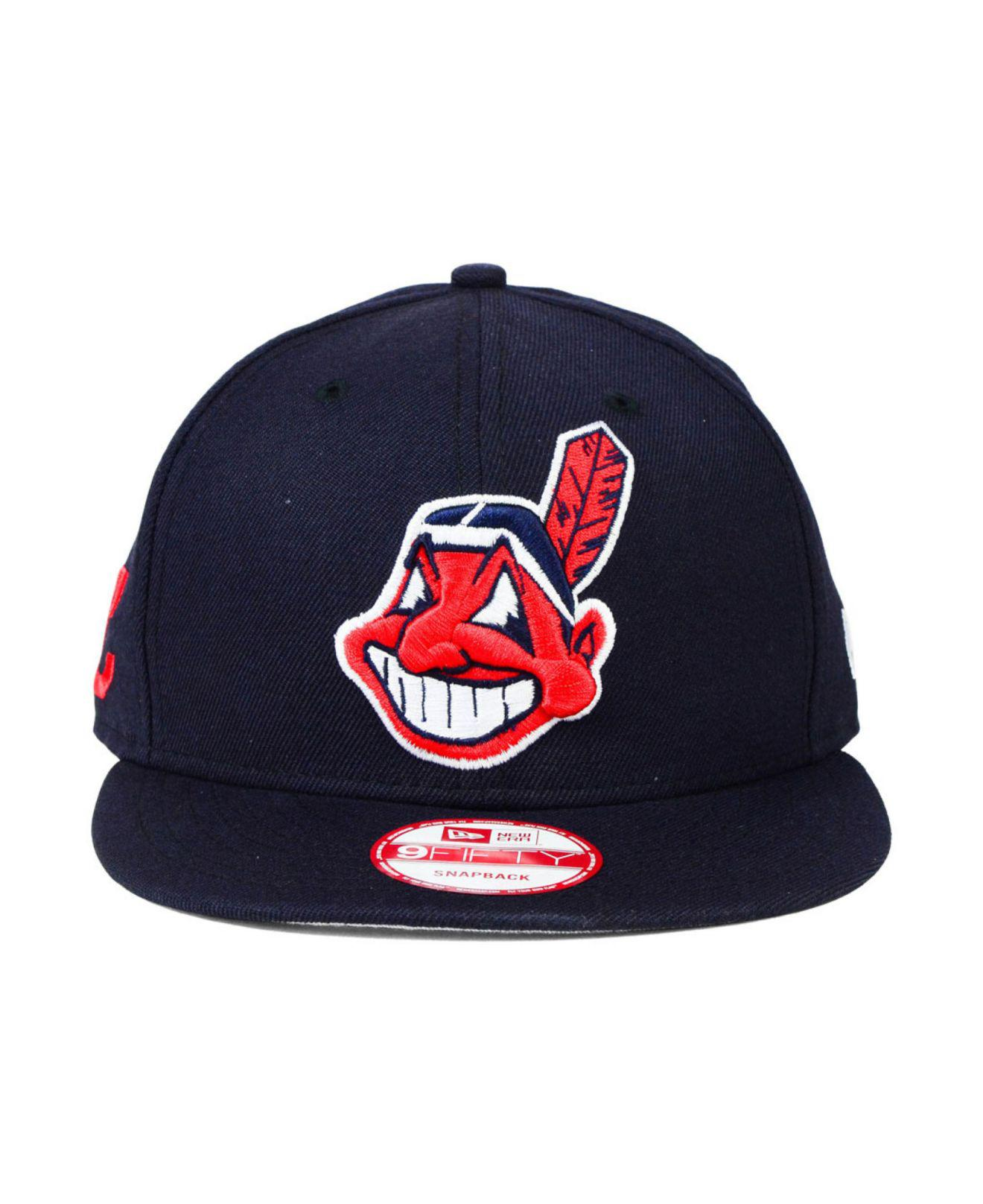 c8ad36dc ... cheap lyst ktz cleveland indians 2 tone link 9fifty snapback cap in  blue for men e8893