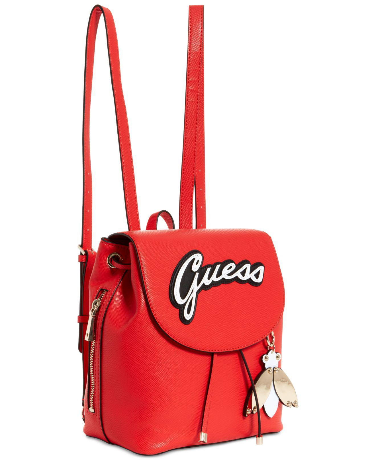 dae8922227a0 Lyst - Guess Varsity Pop Logo Pin Up Small Backpack in Red
