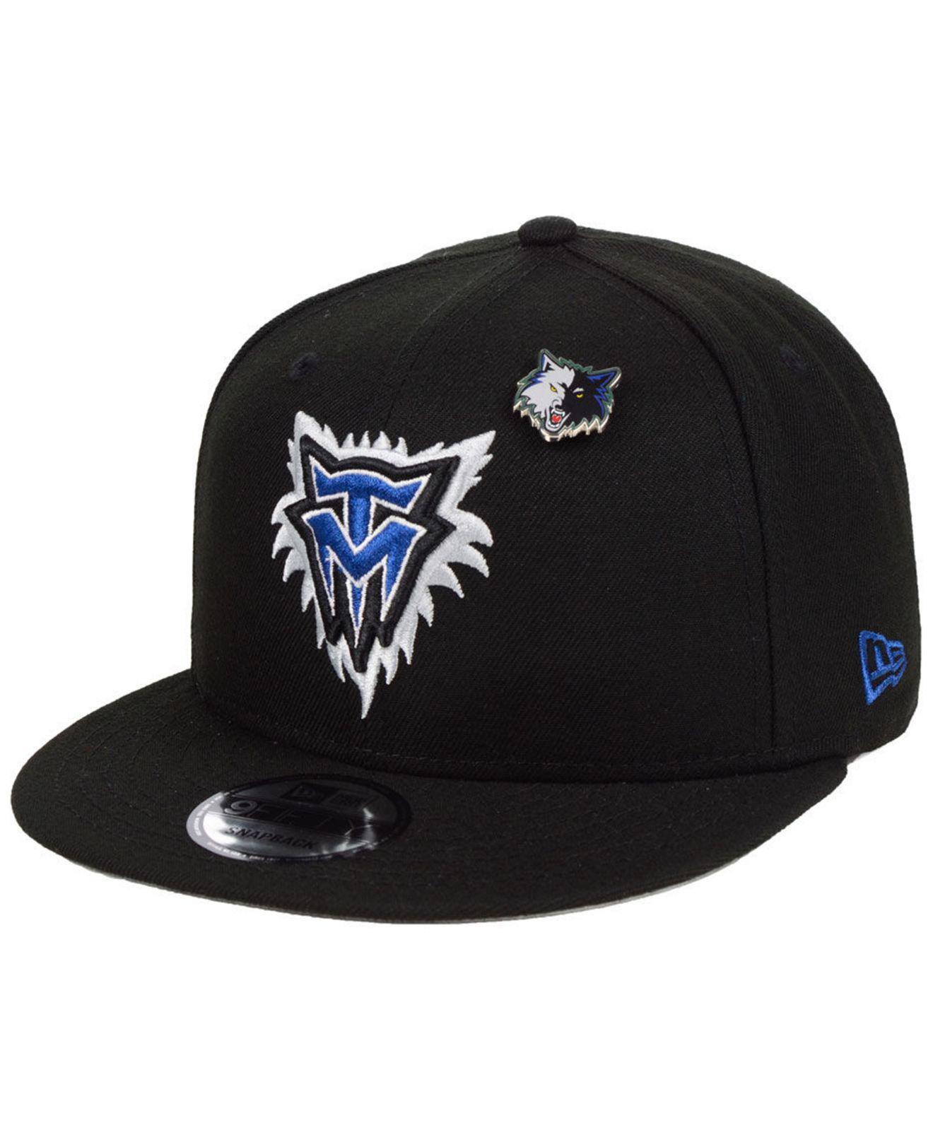 64ffbb13 KTZ. Men's Black Minnesota Timberwolves Hardwood Classic Nights Pin 9fifty  Snapback Cap