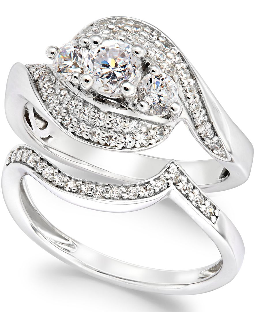 Macy s Diamond Bridal Set In 14k White Gold 1 Ct T w