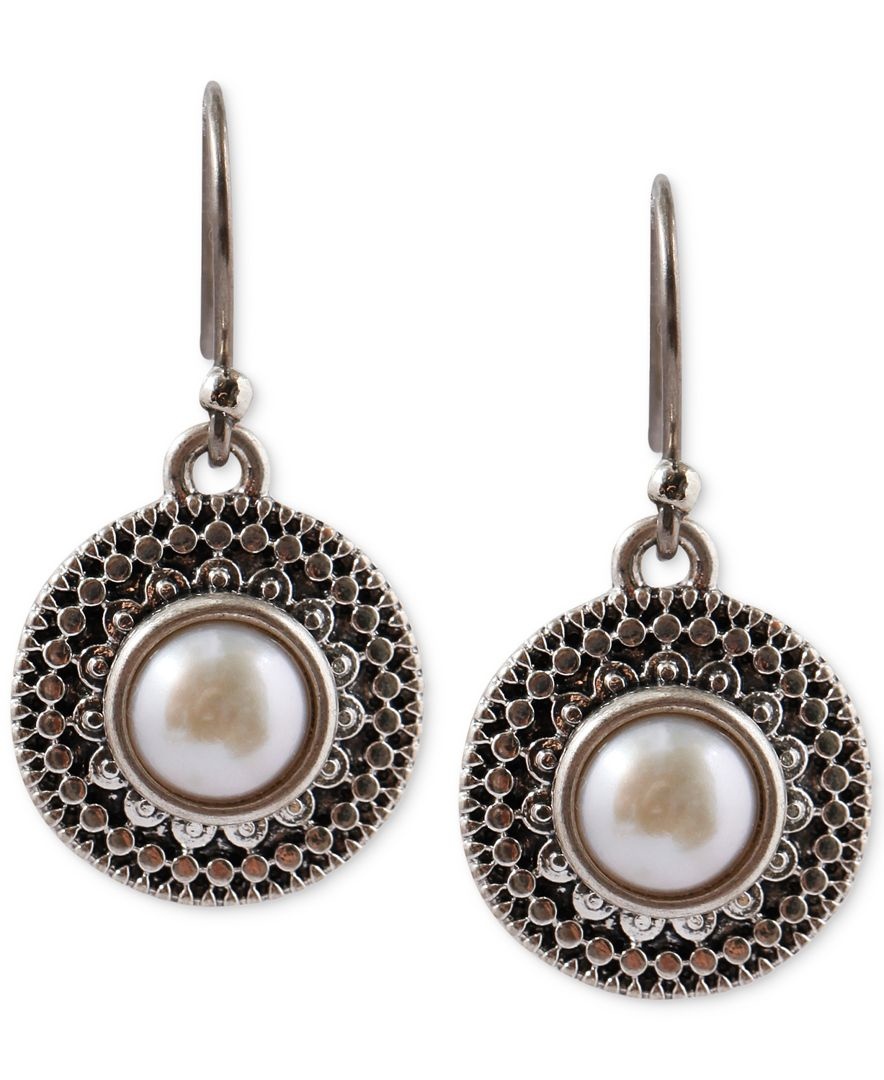 Lucky brand silver tone freshwater pearl small drop for Macy s lucky brand jewelry