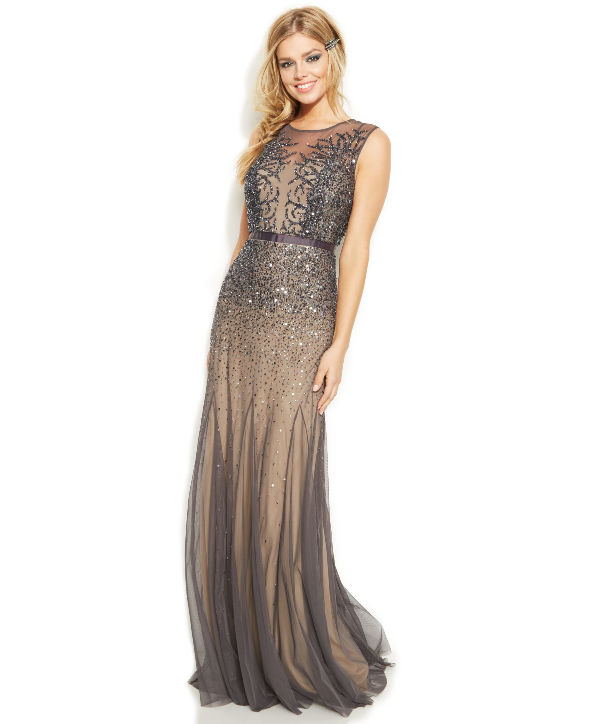 7fd017c12fc Adrianna Papell Petite Sleeveless Beaded Illusion Gown in Gray - Lyst