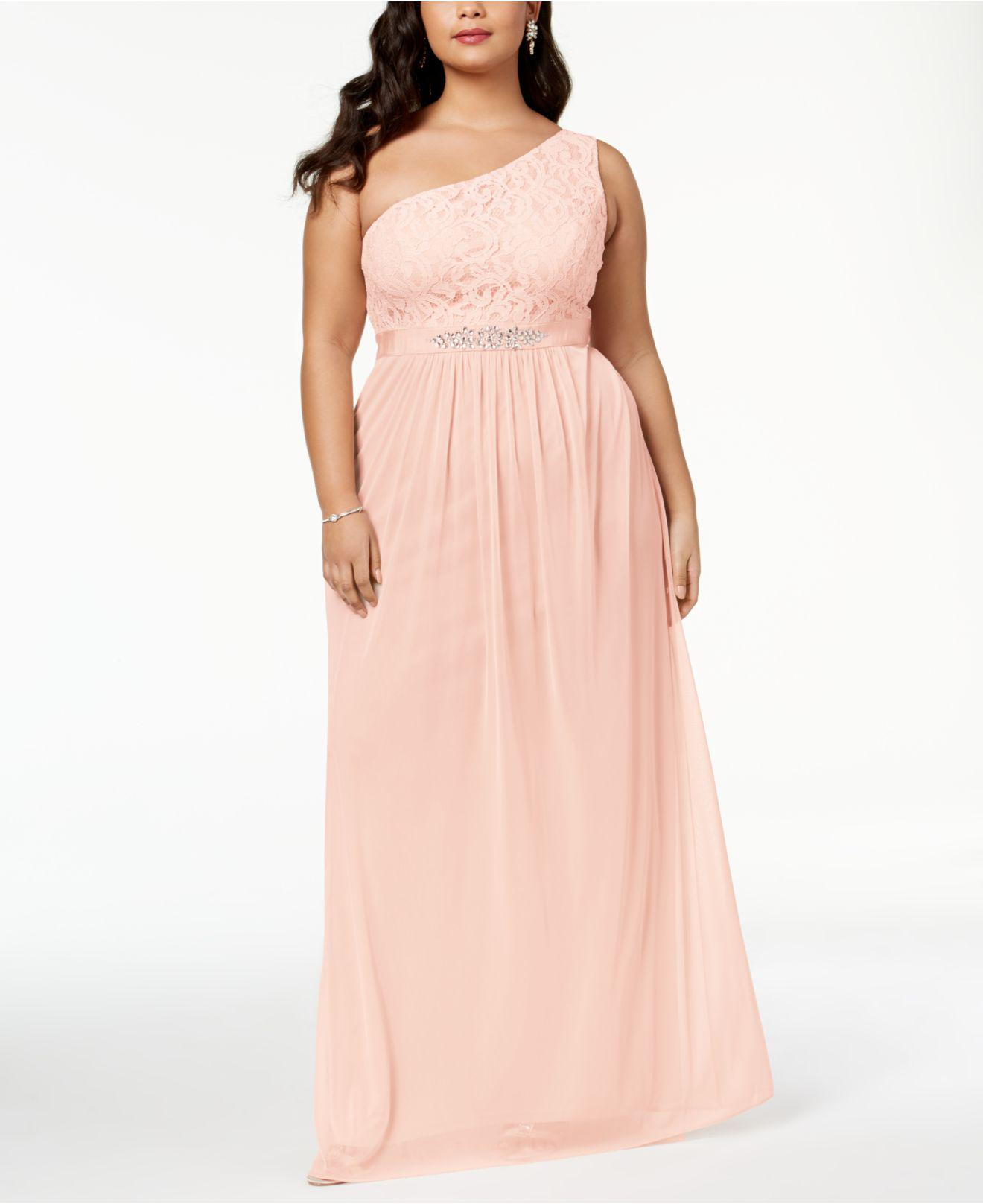 Lyst - Adrianna Papell Embellished Lace One-shoulder Gown in Pink
