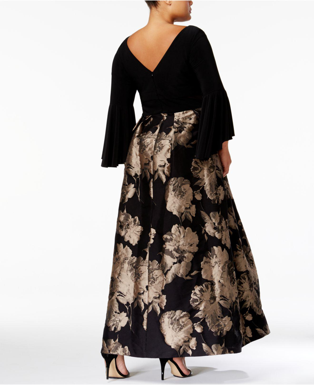 c38916bbb81df Lyst - Xscape Plus Size Brocade Bell-sleeve Gown in Black
