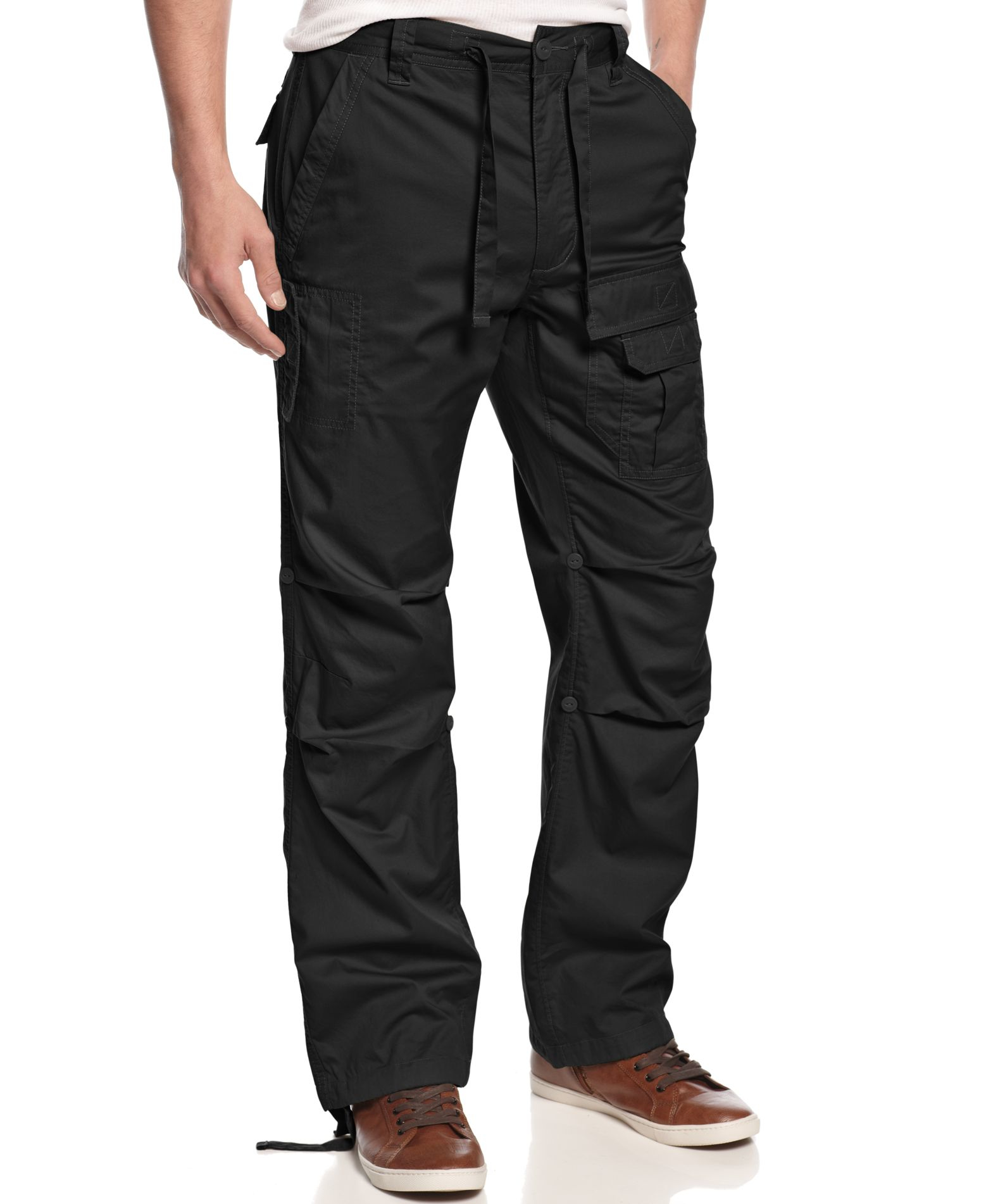 Sean John Men S Pleat Pocket Flight Cargo Pants In Black