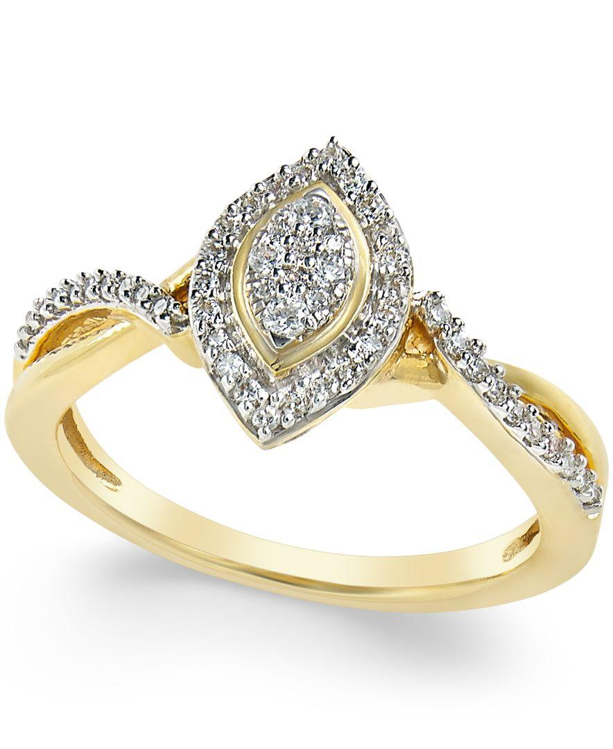 Macy s Diamond Marquise Promise Ring 1 4 Ct T w In 10k Gold in Metall