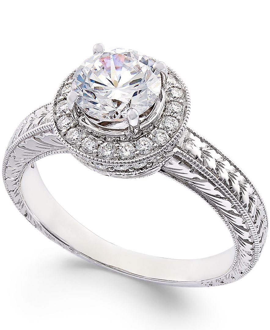 Macys Mens Wedding Rings: Macy's Certified Diamond Engagement Ring In 18k White Gold