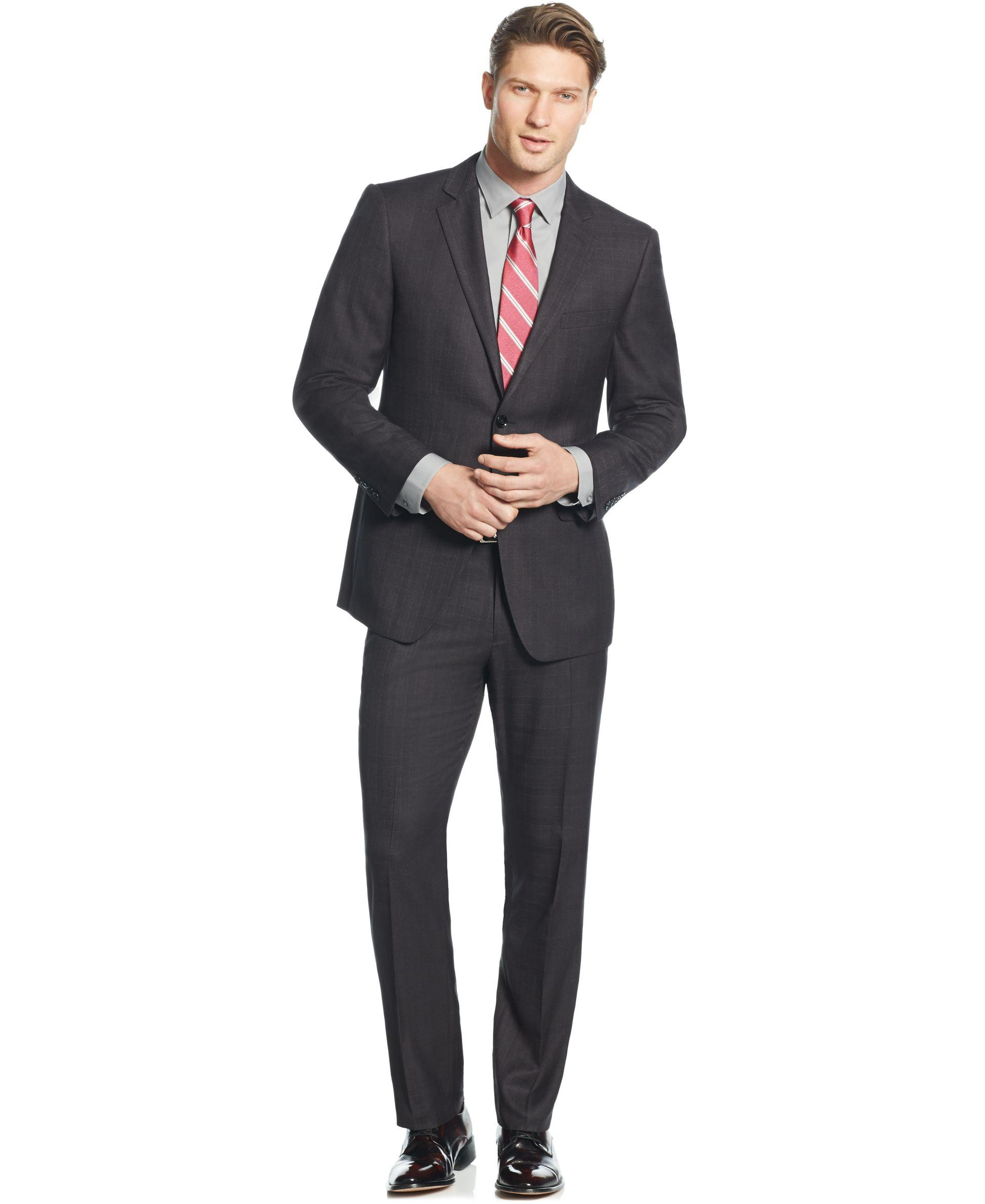 Perry ellis Portfolio Charcoal Plaid Slim-fit Suit in Gray for Men