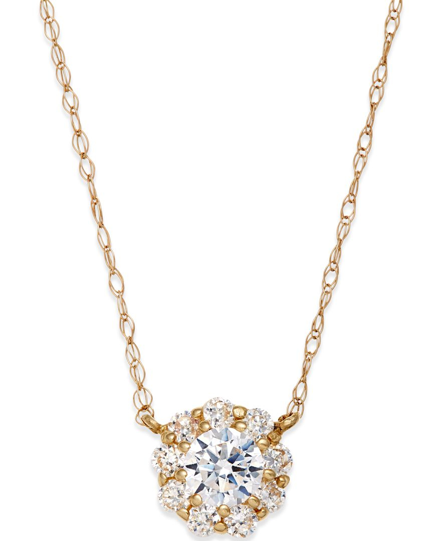 macy s cubic zirconia pendant necklace in 10k gold in
