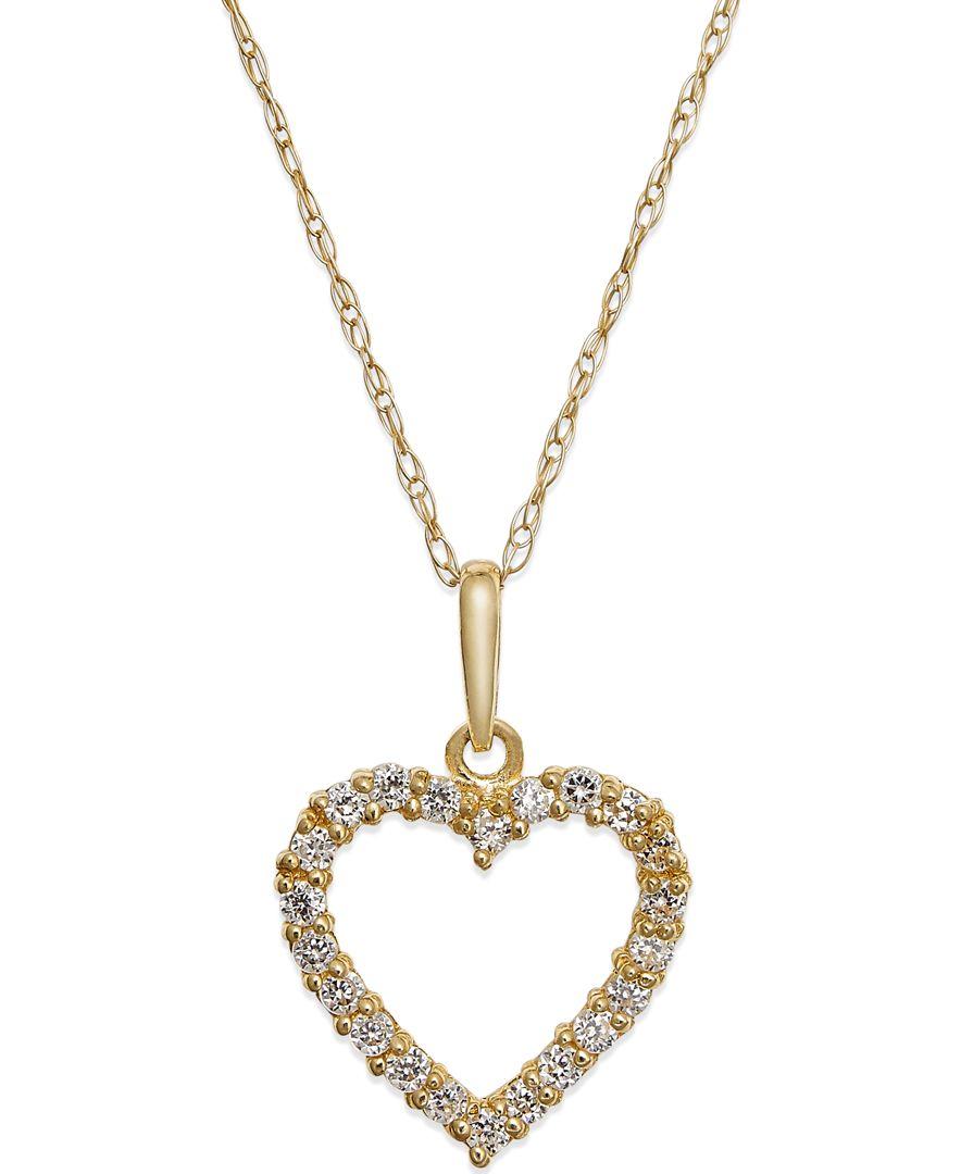 macy 39 s cubic zirconia heart pendant necklace in 10k gold