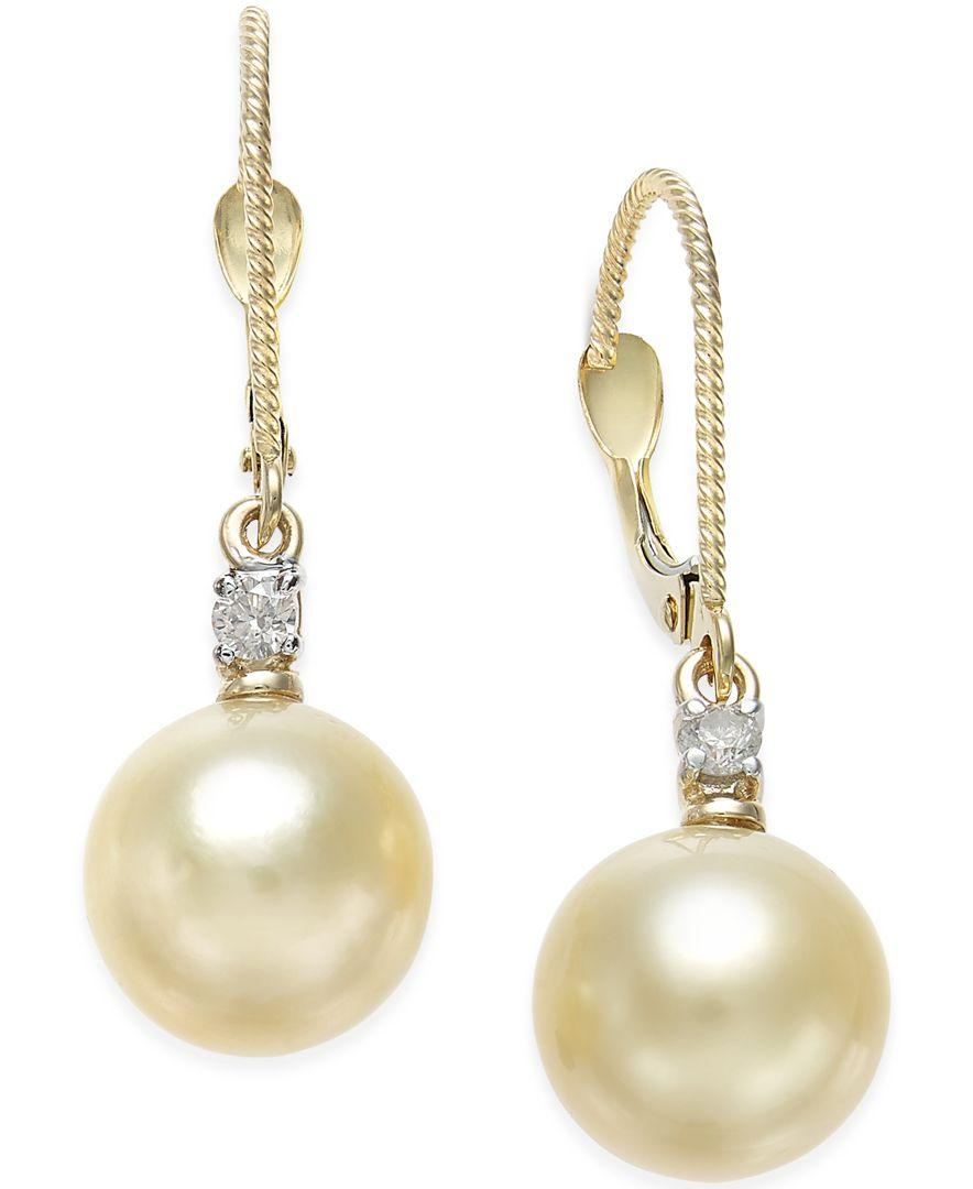macy s pearl earrings macy s cultured golden south sea pearl 9mm and 9238
