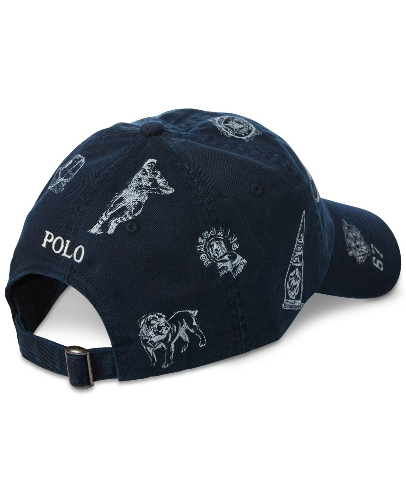 1371fe23f7652 Polo Ralph Lauren Printed Baseball Cap in Blue for Men - Save 20% - Lyst