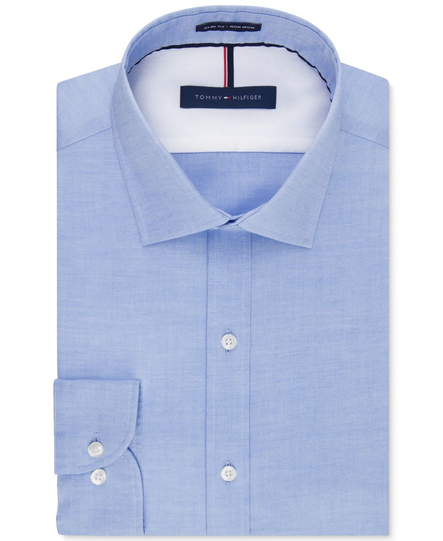 Tommy hilfiger men 39 s slim fit non iron soft wash solid for Slim fit non iron dress shirts