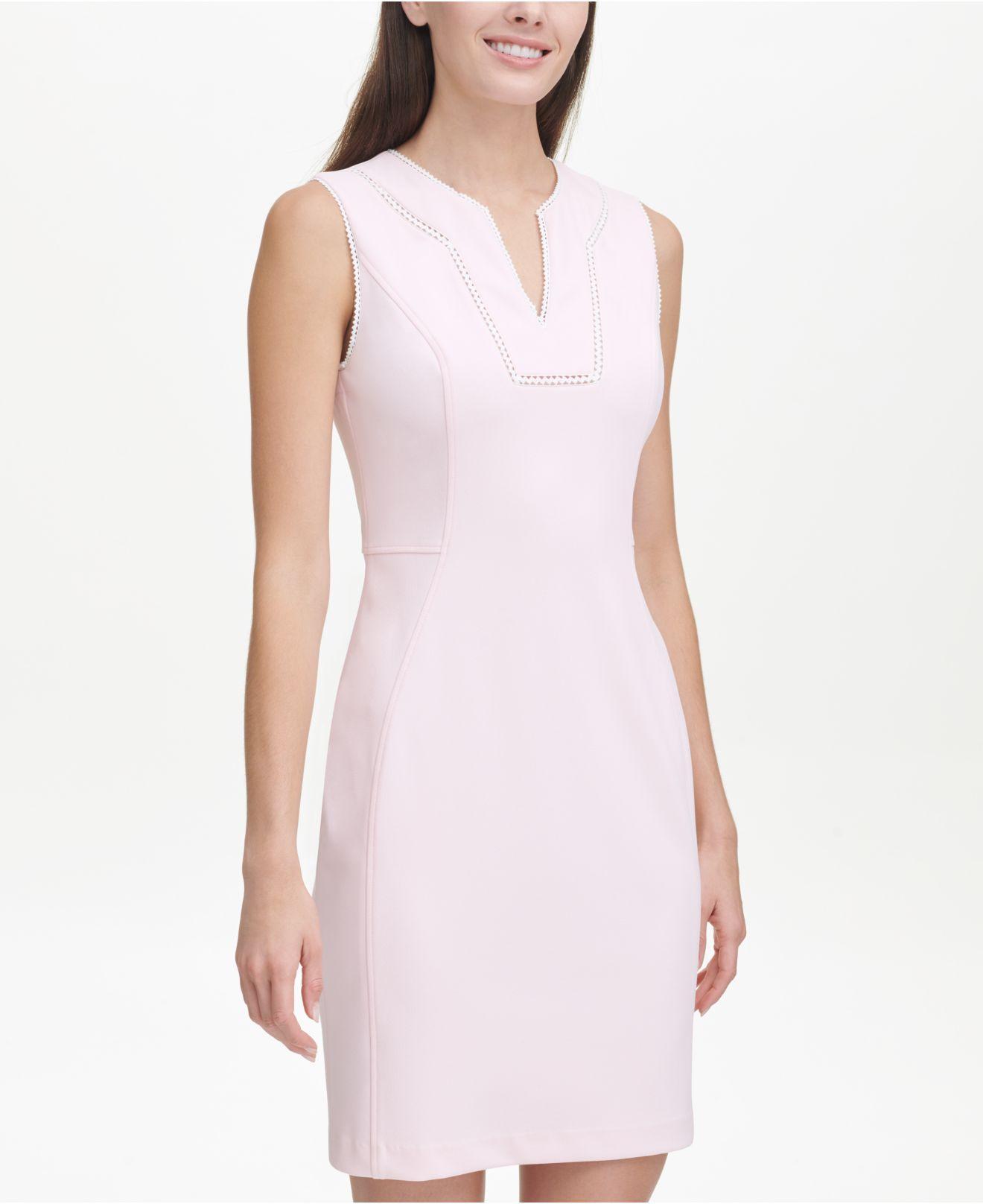 b6762e3cbc8 Lyst - Tommy Hilfiger Scuba Crepe Sheath Dress in Pink