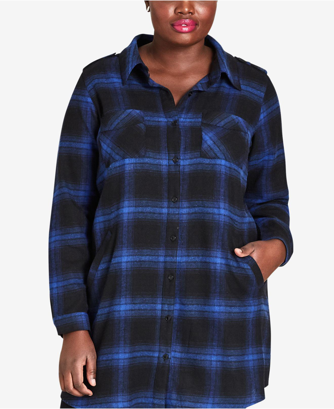5b8dbe0dfb533 Lyst - City Chic Plus Size Cotton Plaid Tunic Top in Blue