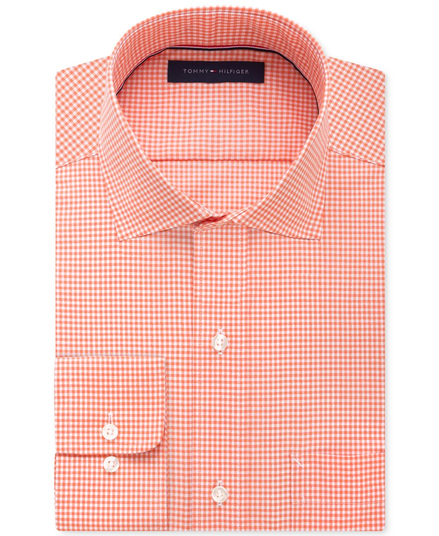 Tommy Hilfiger Classic Fit Non Iron Gingham Dress Shirt In
